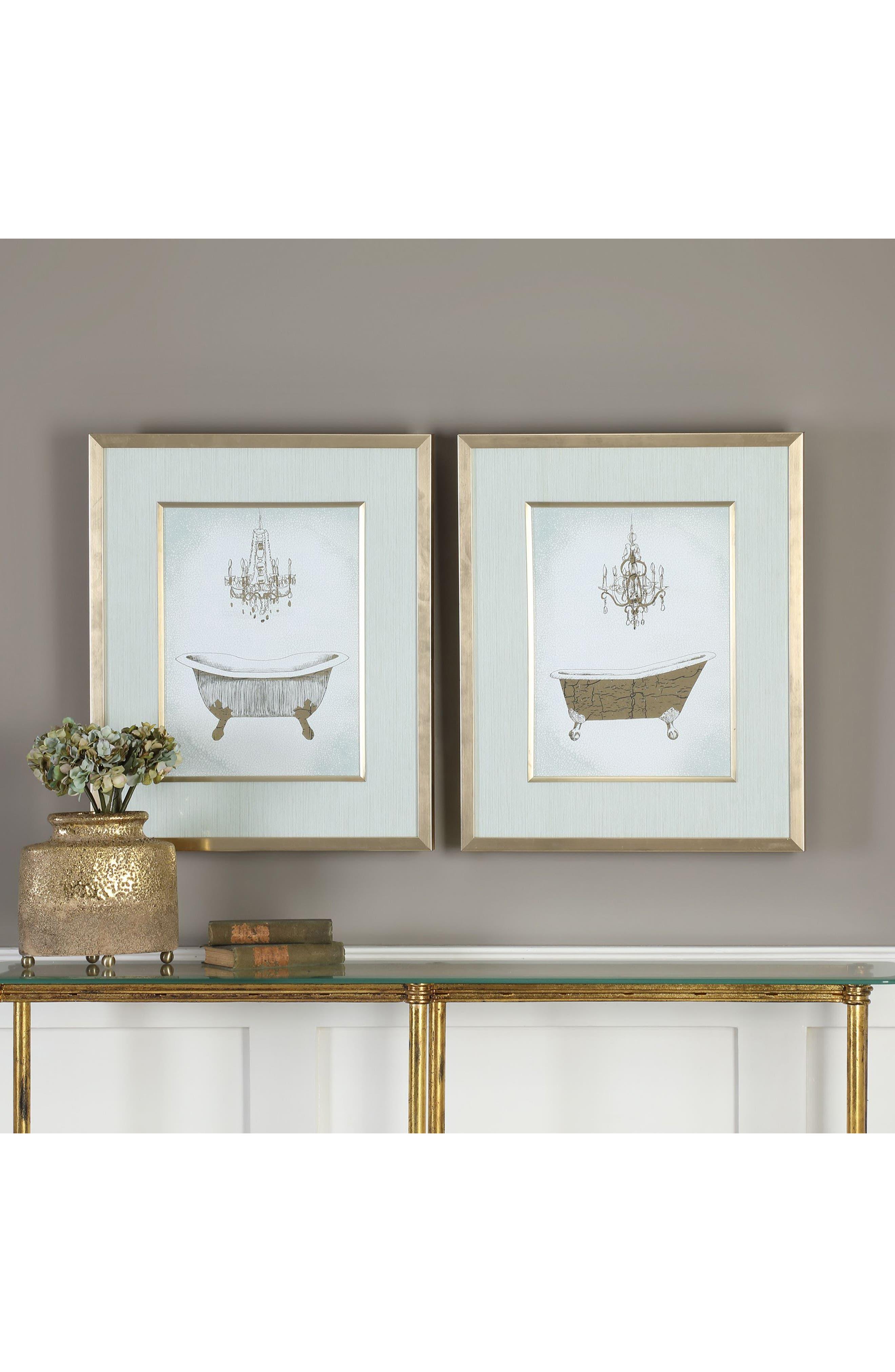 Gilded Bath Set of 2 Art Prints,                             Alternate thumbnail 2, color,