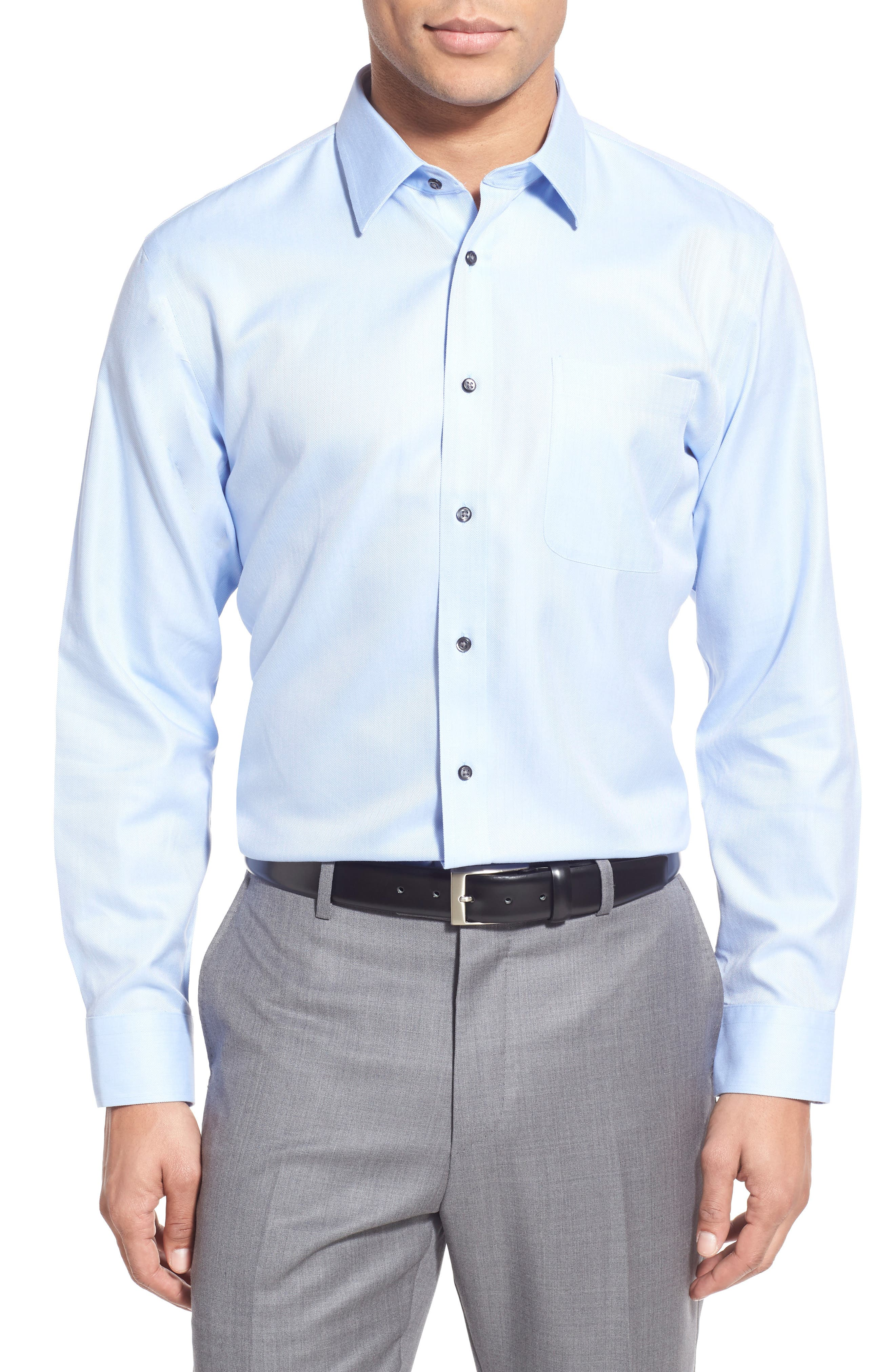 Nordstrom Shop Smartcare(TM) Trim Fit Herringbone Dress Shirt
