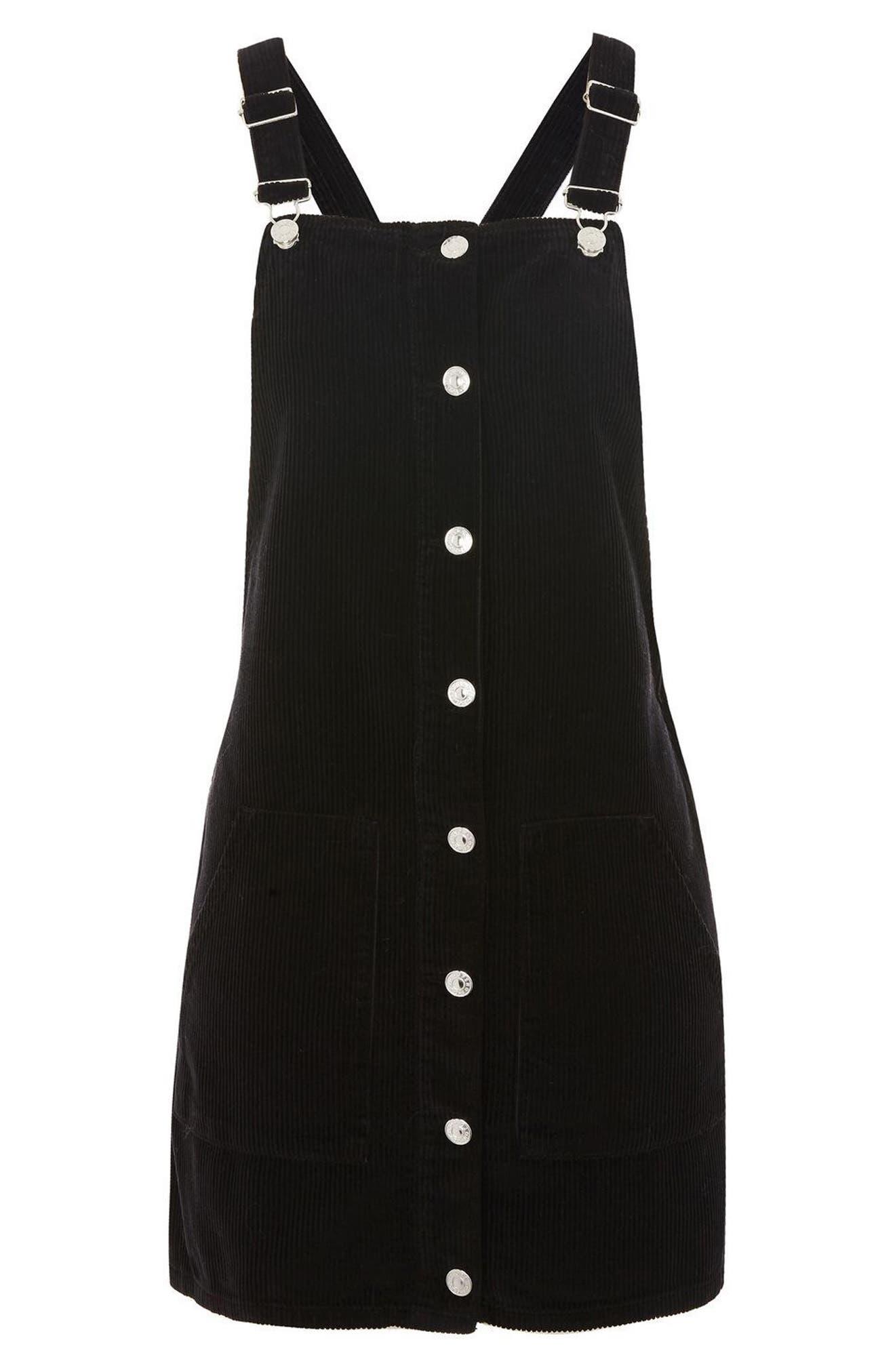 Button Front Corduroy Pinafore Dress,                             Alternate thumbnail 7, color,