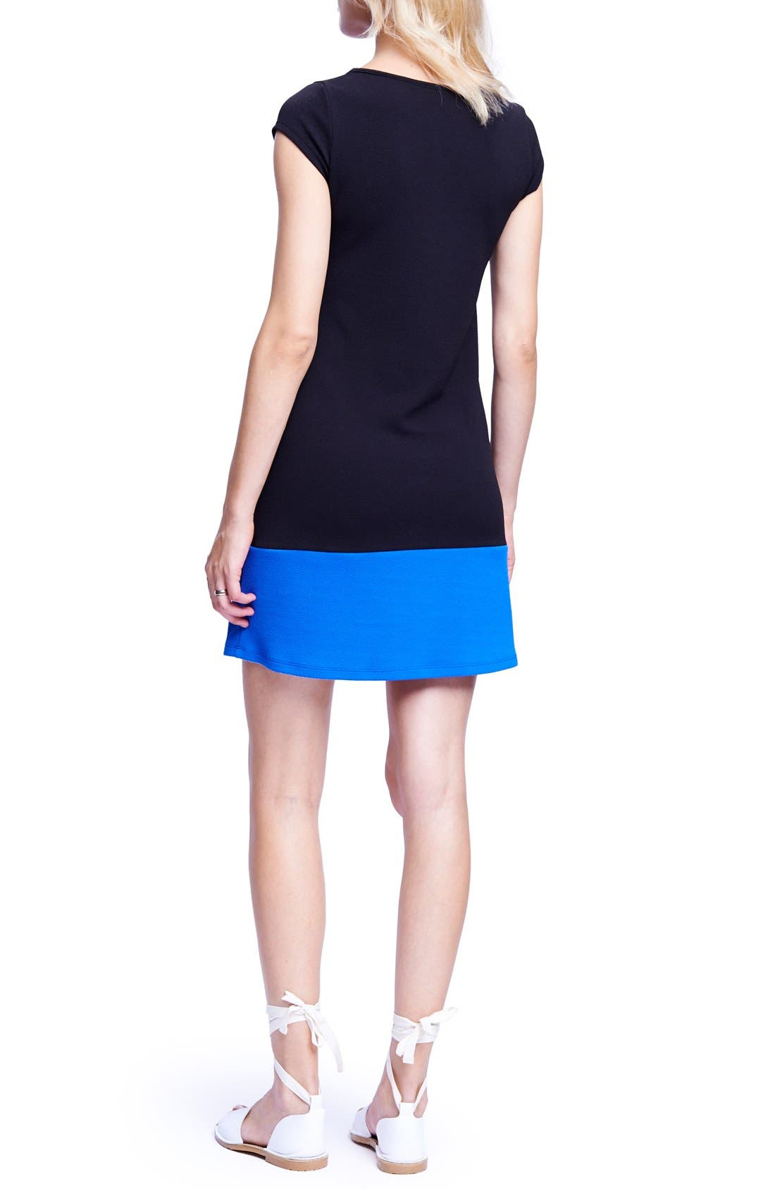 Colorblock Maternity T-Shirt Dress,                             Alternate thumbnail 2, color,                             BLACK/ ROYAL BLUE