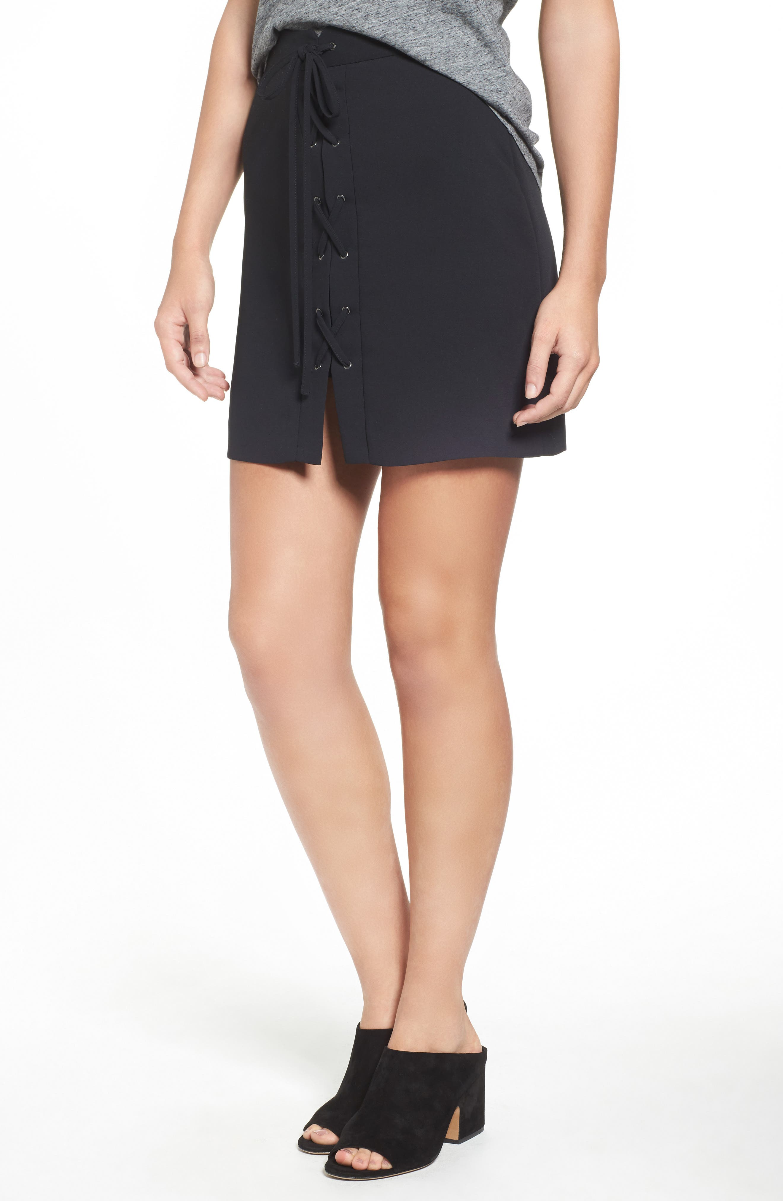 MADEWELL Lace-Up Skirt, Main, color, 001