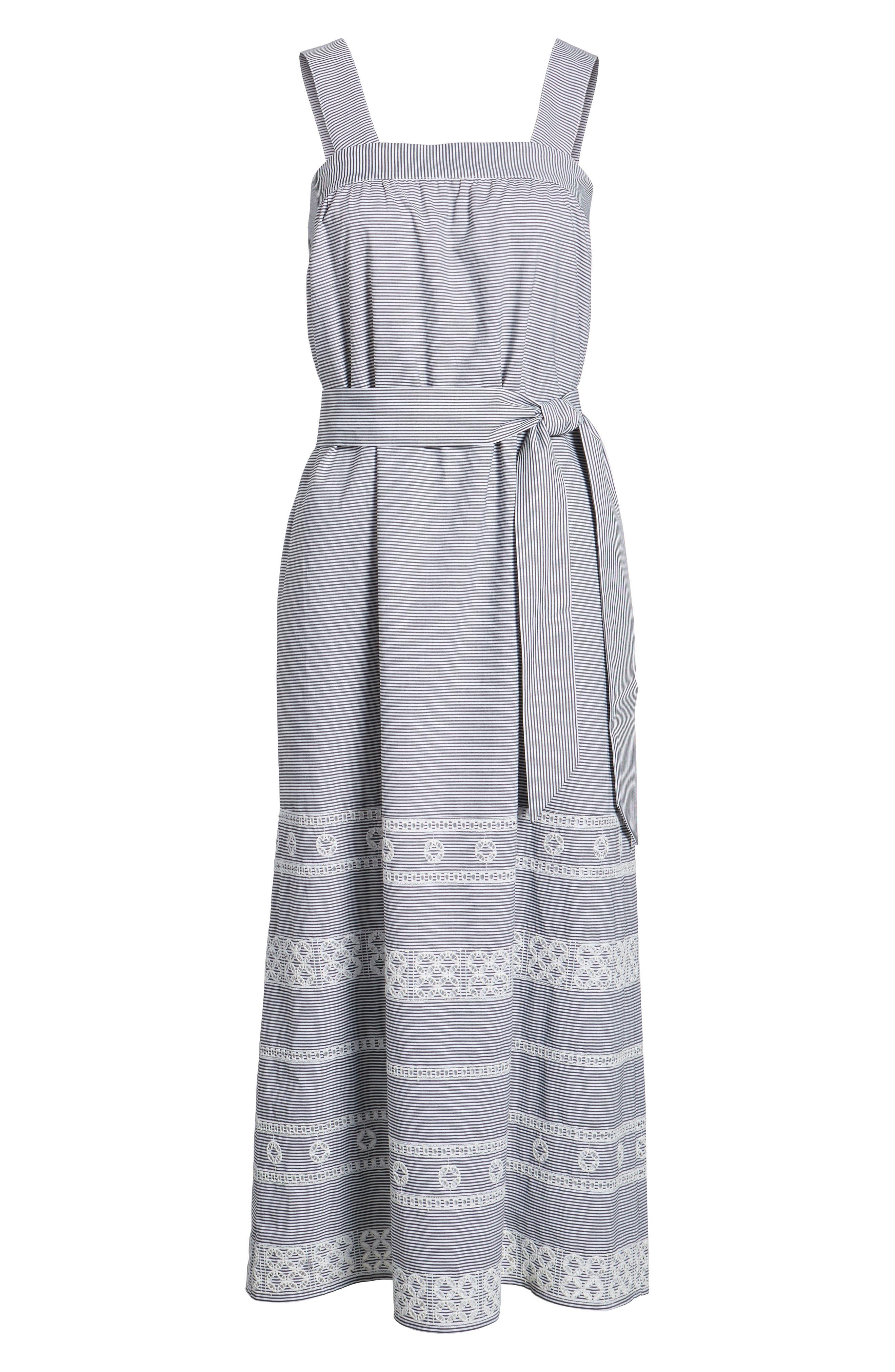 Striped Maxi Dress,                             Alternate thumbnail 7, color,                             002