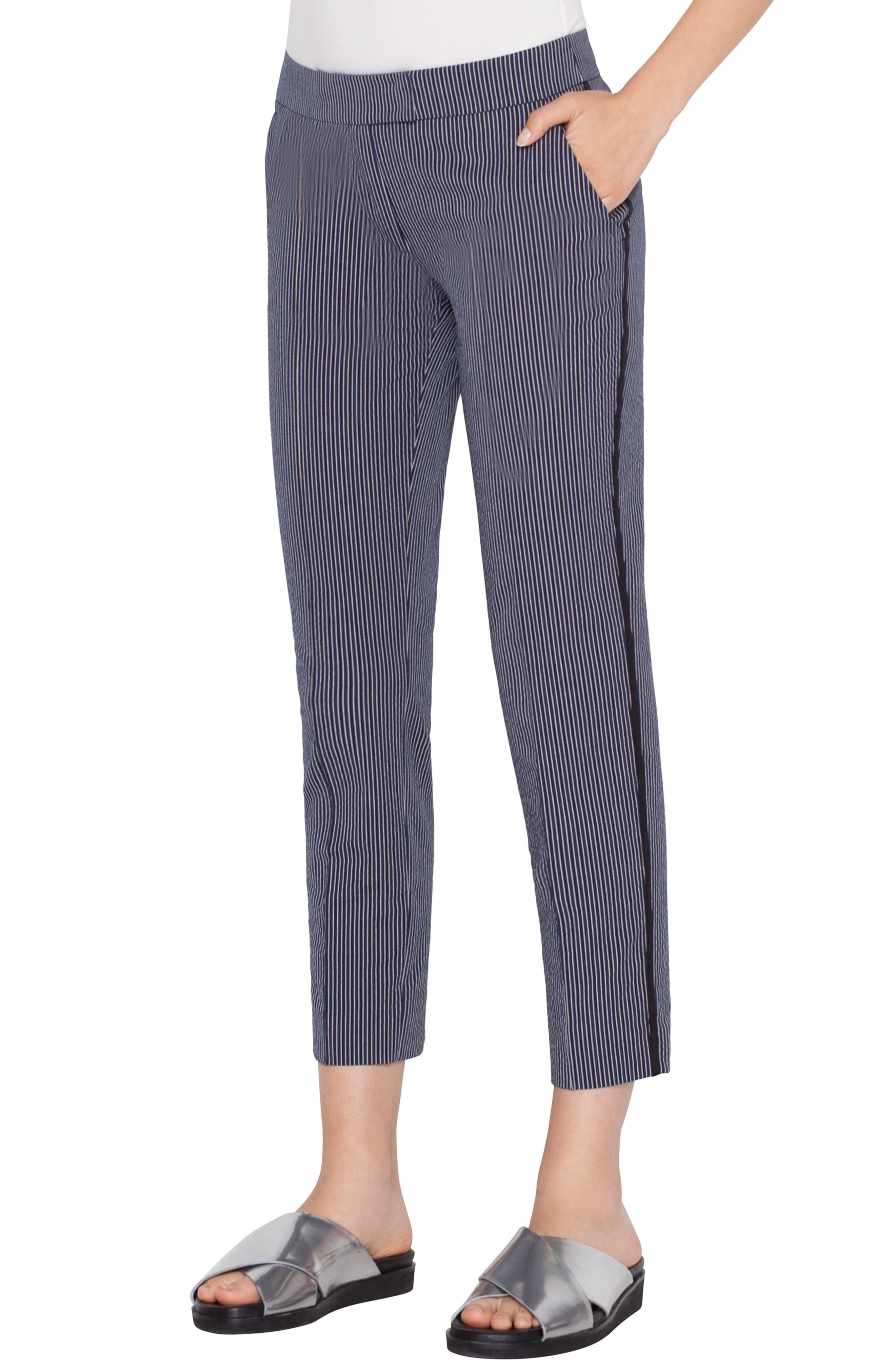 Frankie Piped Stretch Cotton Stripe Pants, Main, color, BLUE SCURO-CREMA