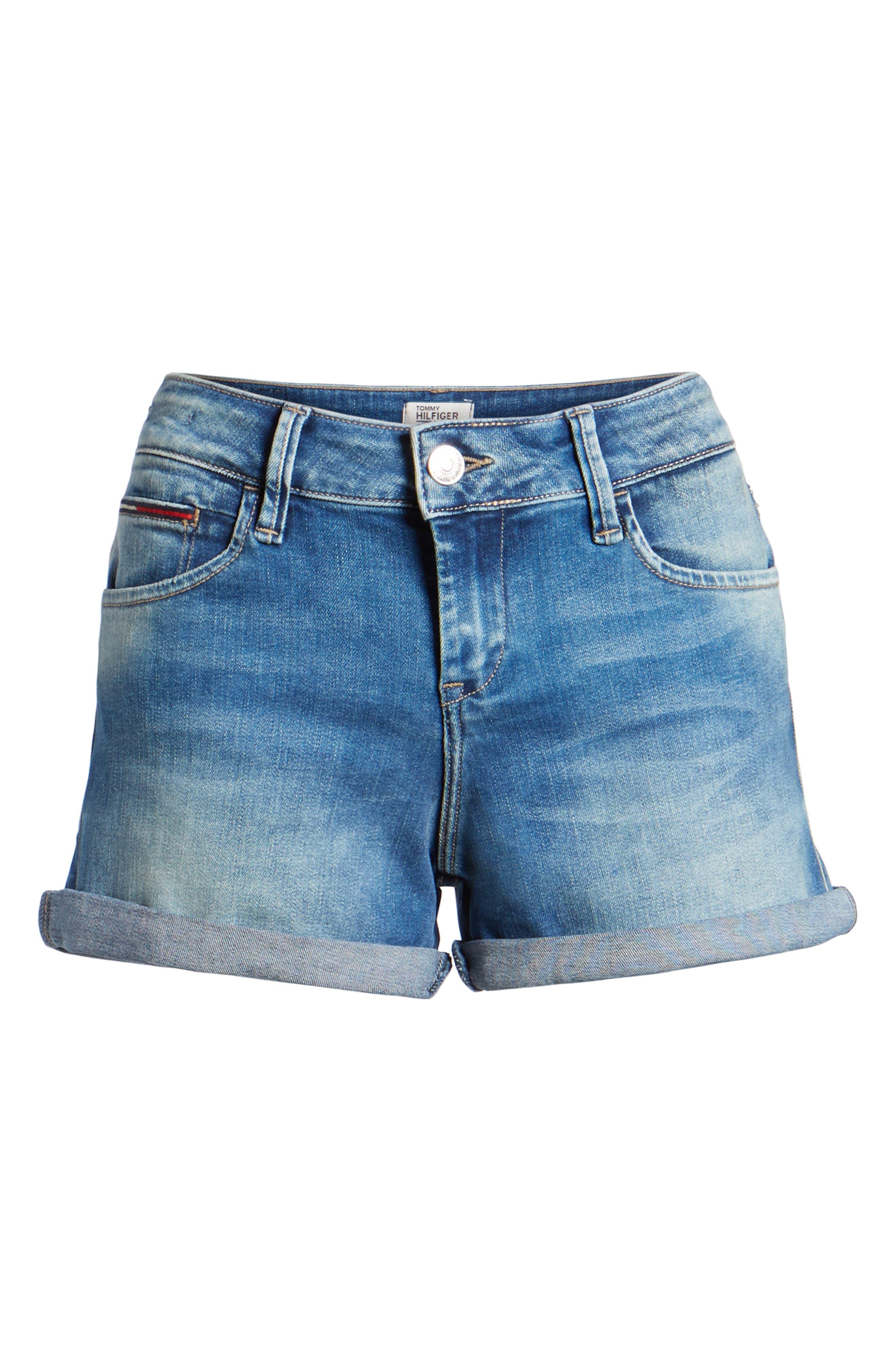 Cuffed Denim Shorts,                             Alternate thumbnail 7, color,