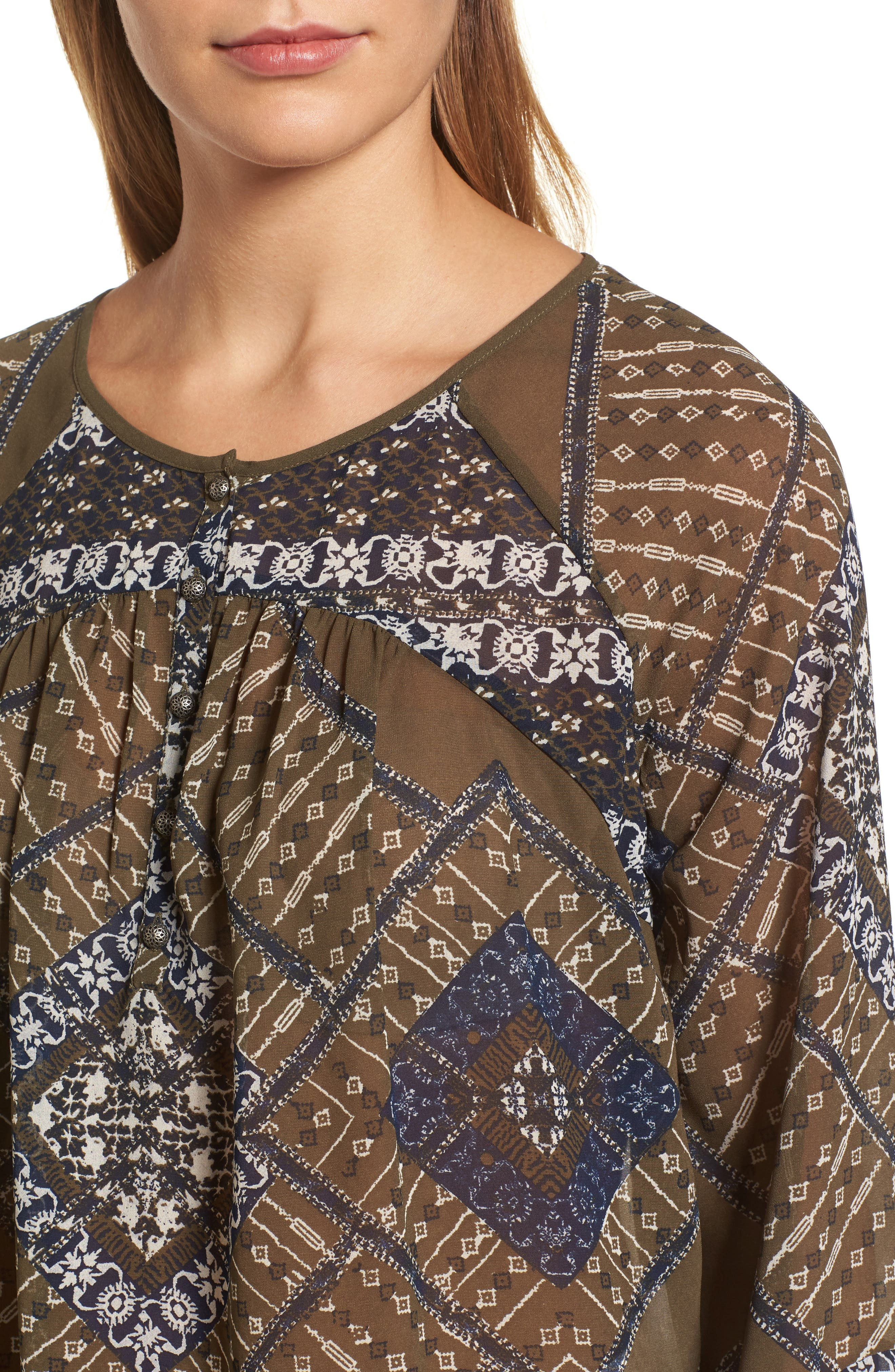 Mixed Print Peasant Top,                             Alternate thumbnail 4, color,                             340