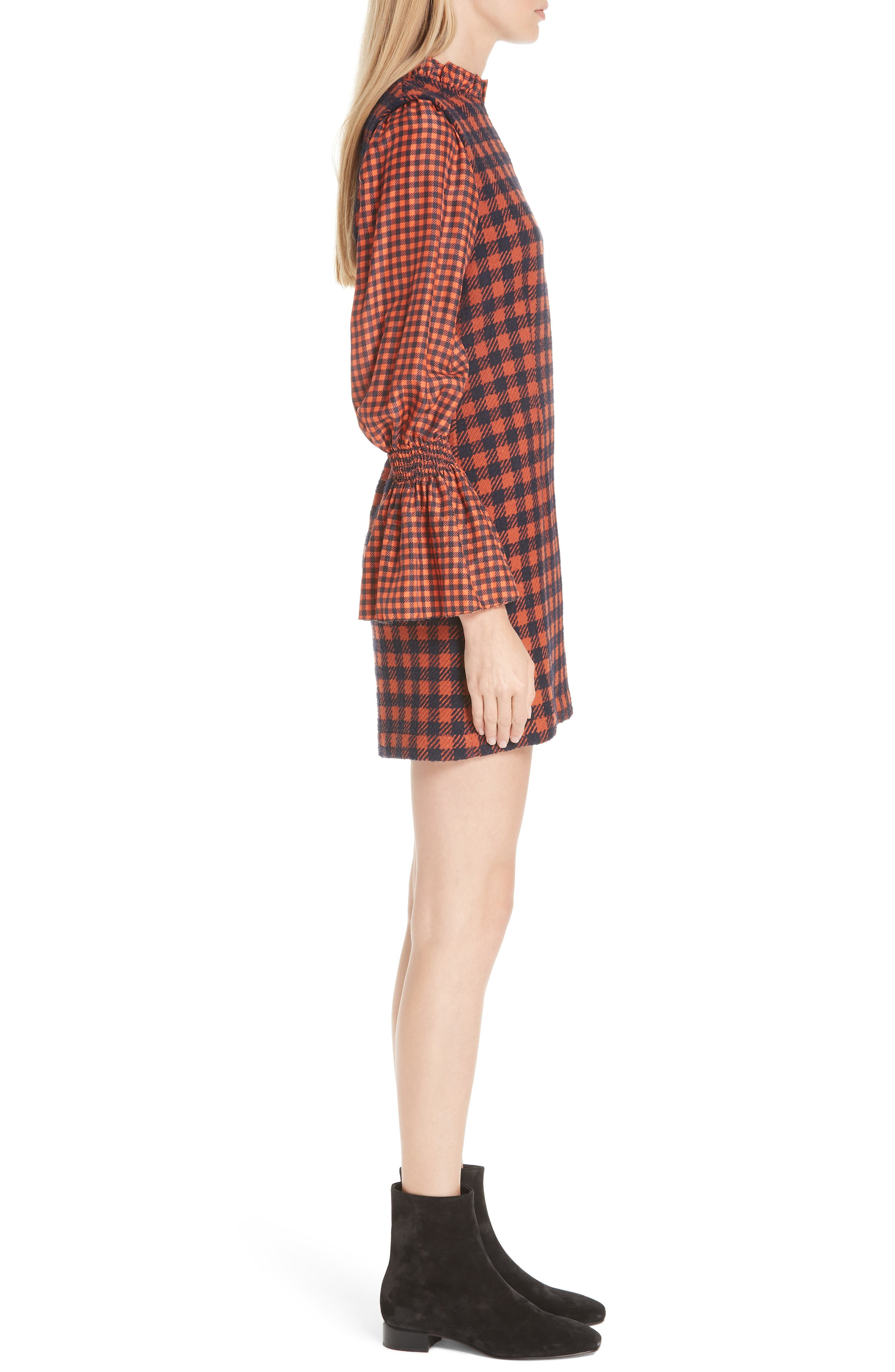 Ethno Pop Checkered Combo Dress,                             Alternate thumbnail 3, color,                             800