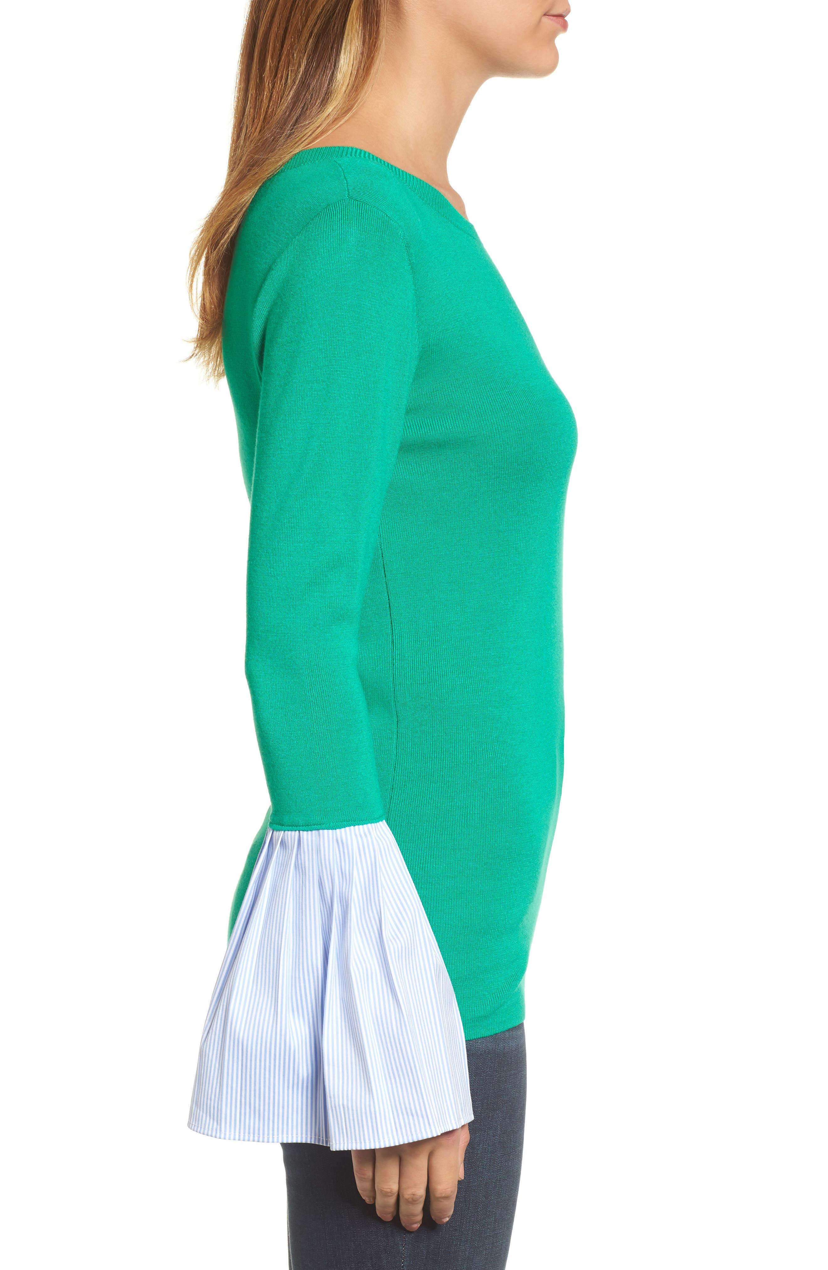 Poplin Bell Cuff Sweater,                             Alternate thumbnail 10, color,