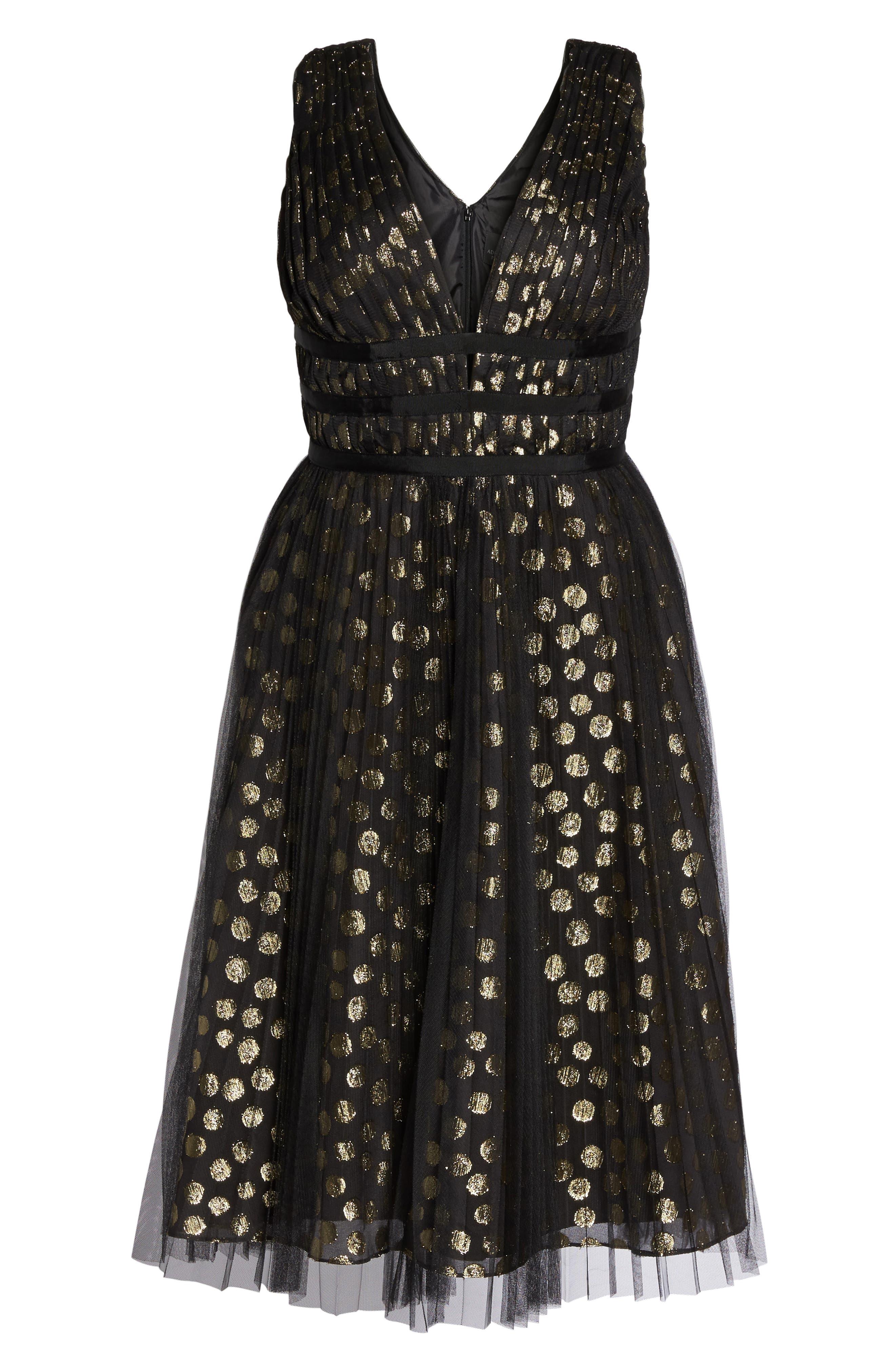 Shirred Metallic Dress,                             Alternate thumbnail 6, color,                             001