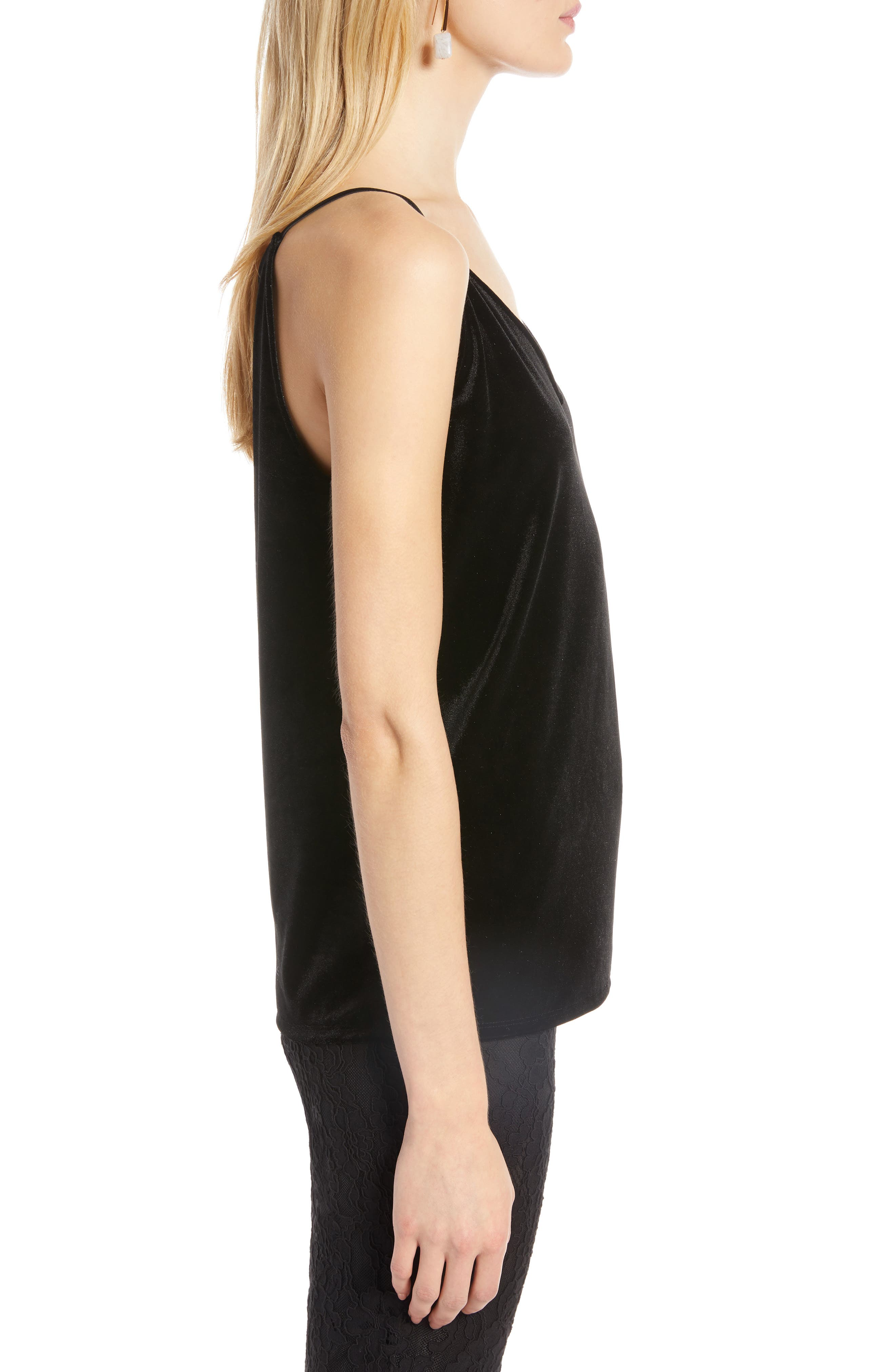Velvet Camisole,                             Alternate thumbnail 3, color,                             BLACK