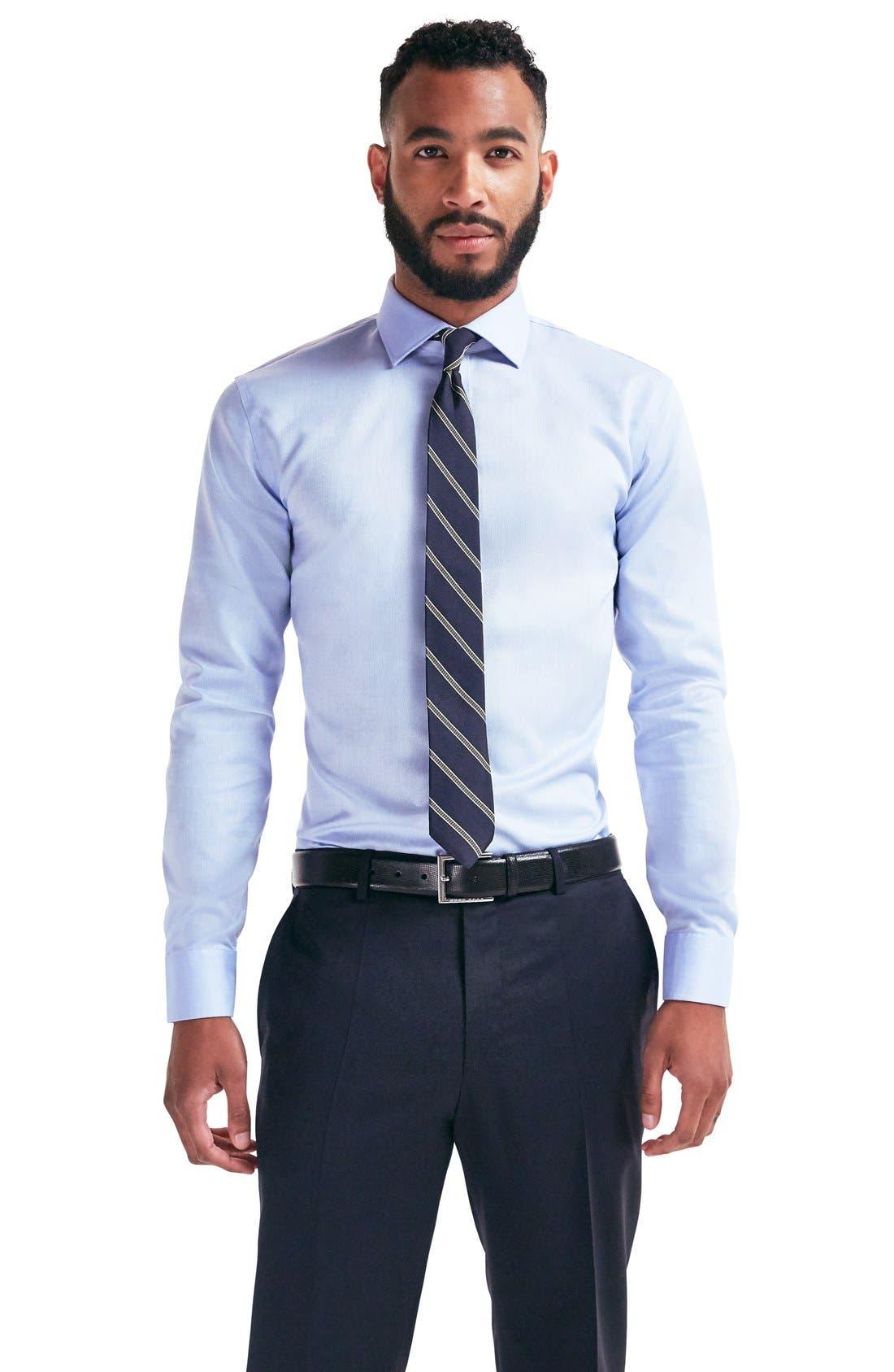 Smartcare<sup>™</sup> Trim Fit Twill Dress Shirt, Main, color, 110
