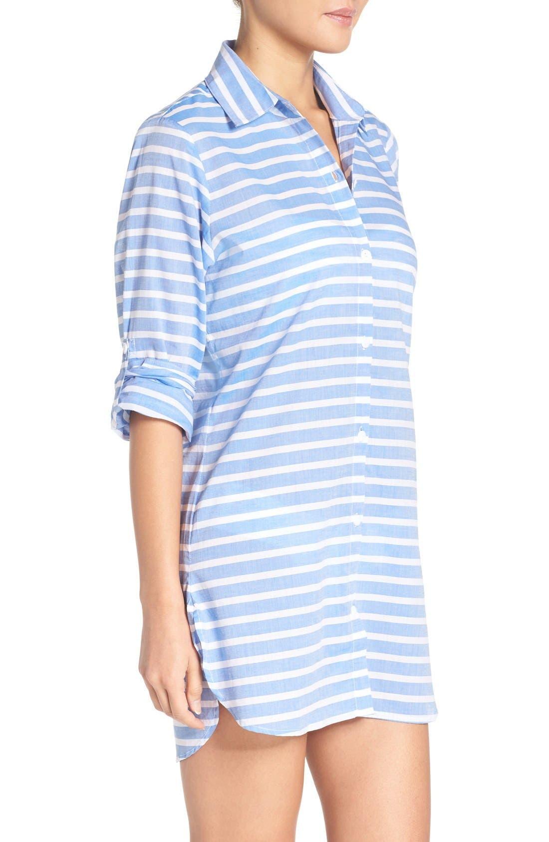 Brenton Stripe Boyfriend Shirt Cover-Up,                             Alternate thumbnail 20, color,