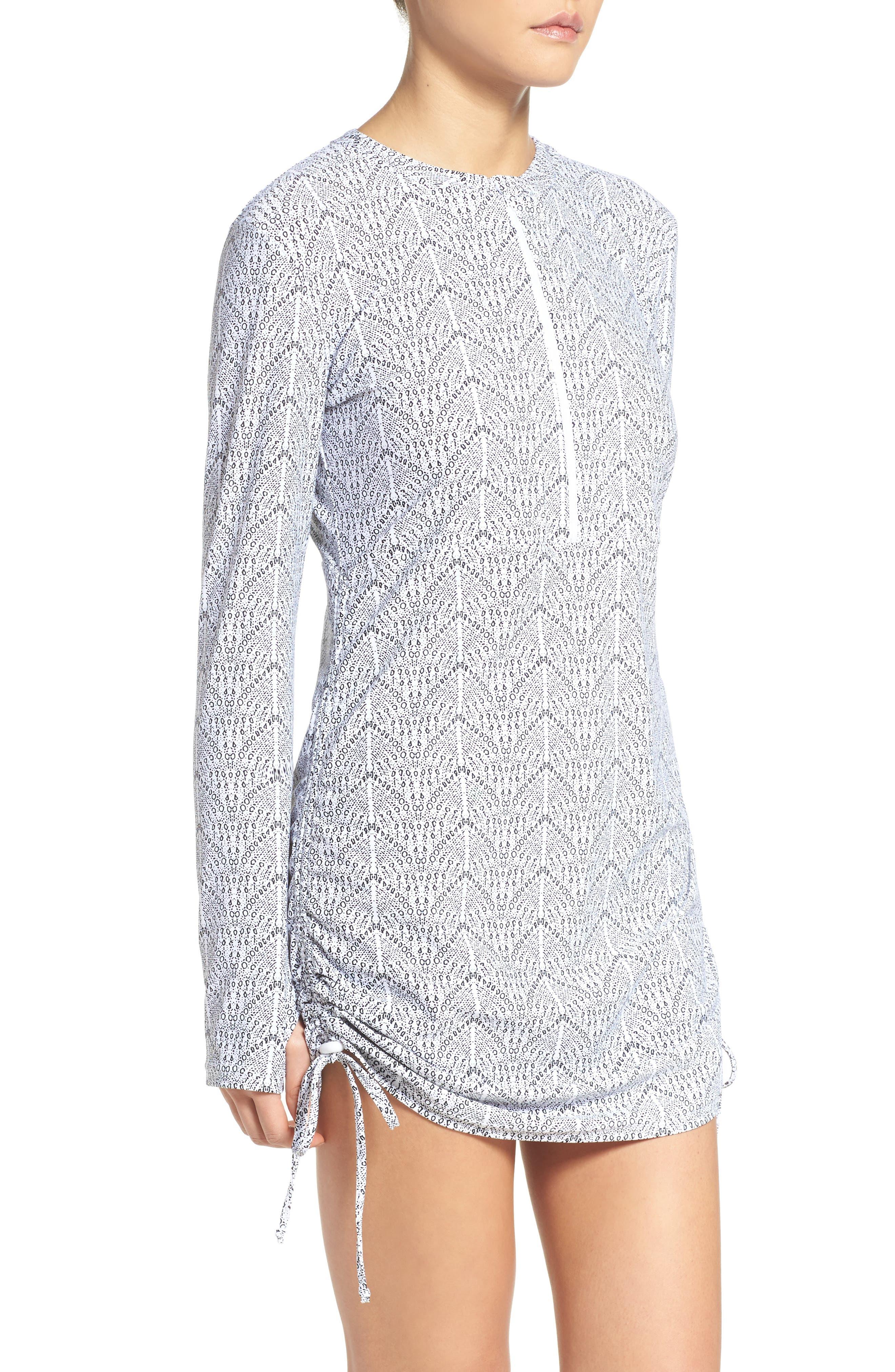 'Sonja' Long Sleeve Half Zip Convertible Swimdress,                             Alternate thumbnail 23, color,