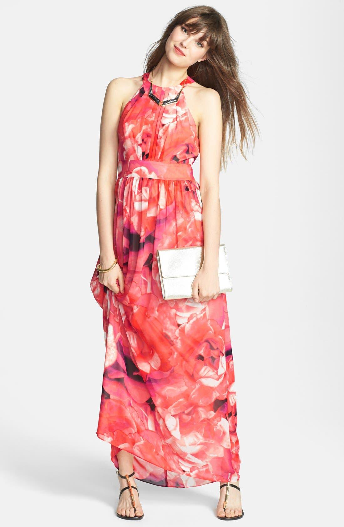 Print Chiffon Fit & Flare Maxi Dress,                             Alternate thumbnail 8, color,                             650