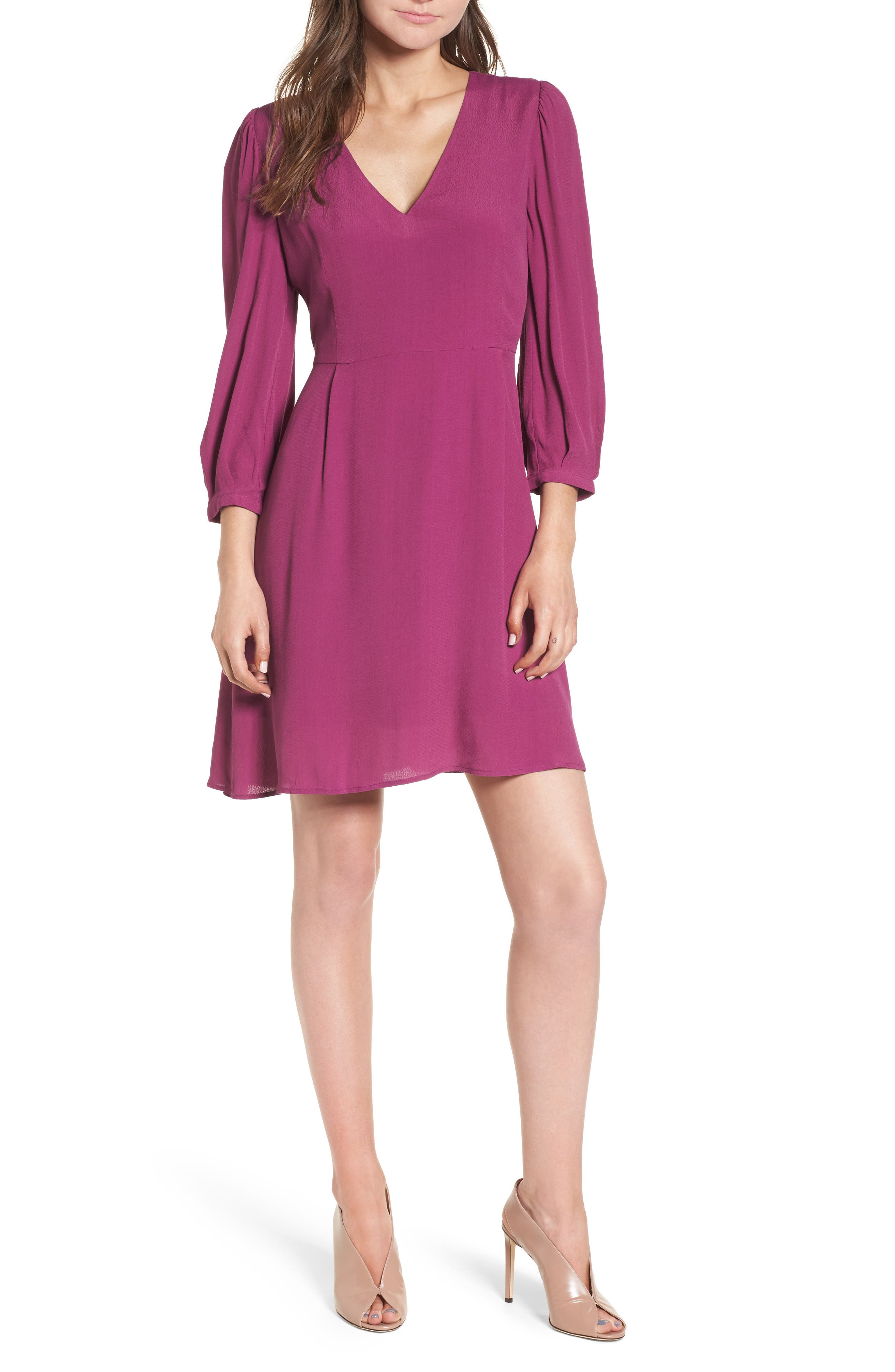 V-Neck Puff Sleeve Dress,                         Main,                         color, 510