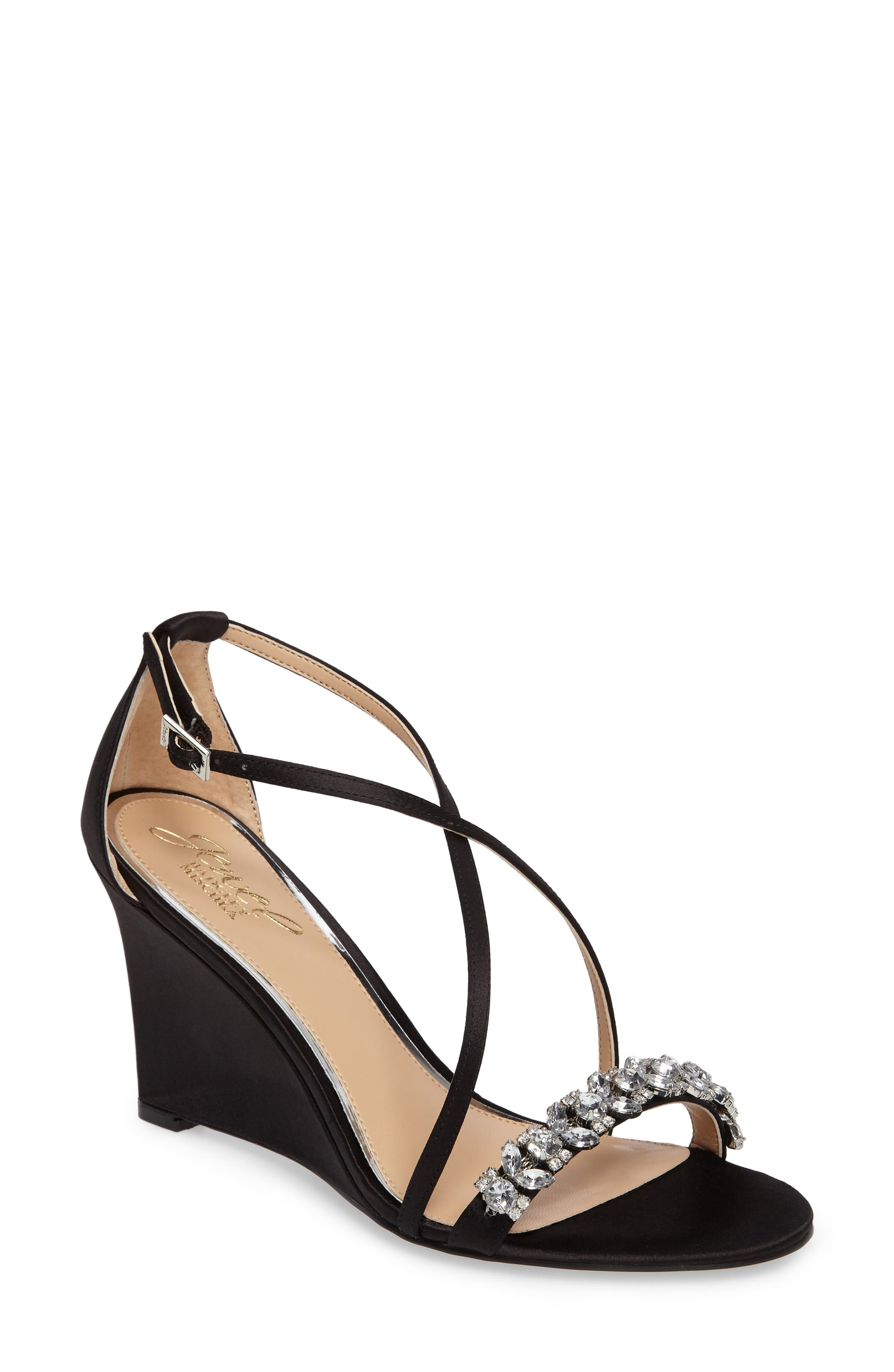 Embellished Strappy Wedge Sandal,                             Main thumbnail 1, color,                             015