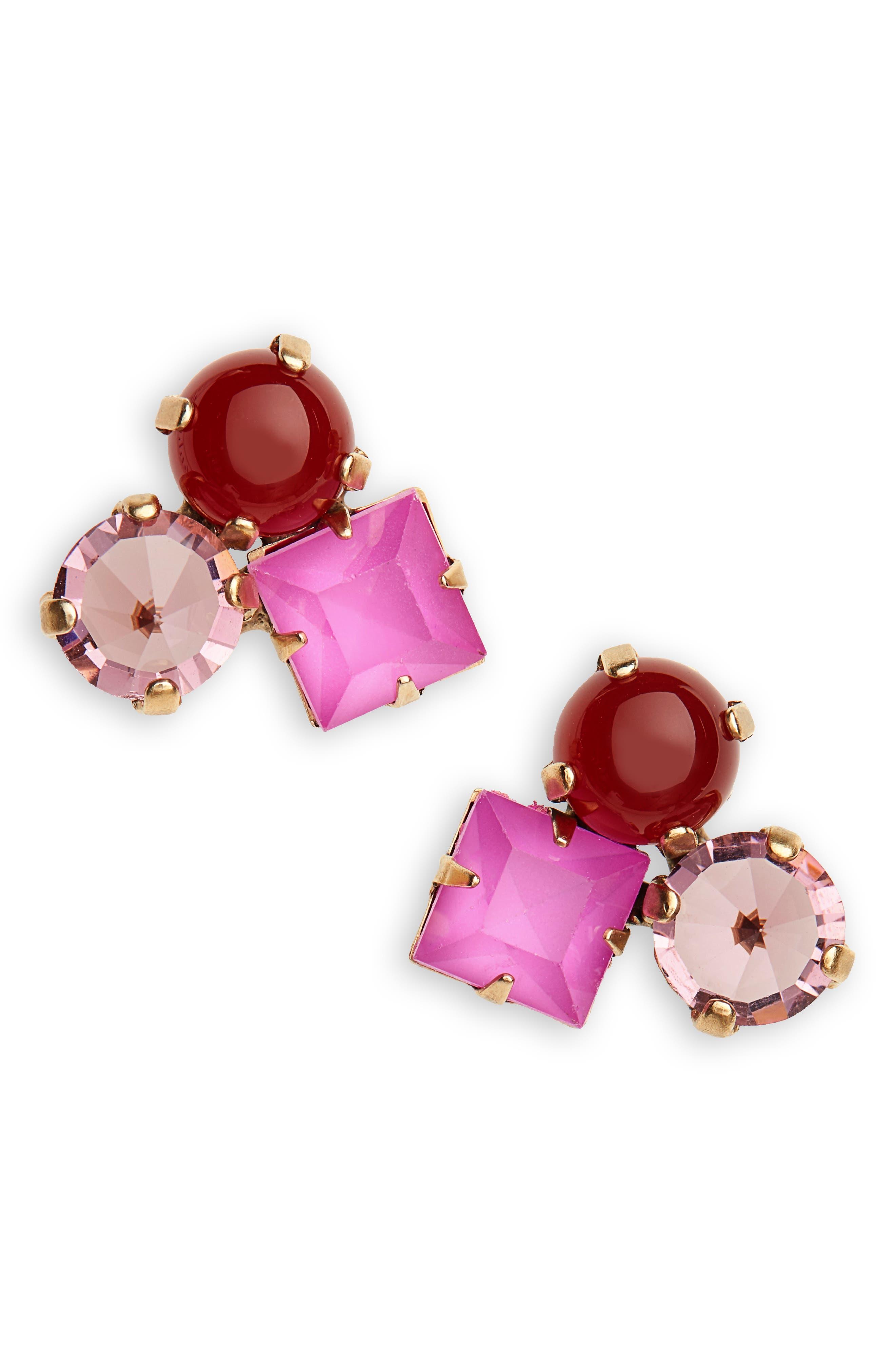Harlow Cluster Stud Earrings,                             Main thumbnail 1, color,                             PURPLE MULTI
