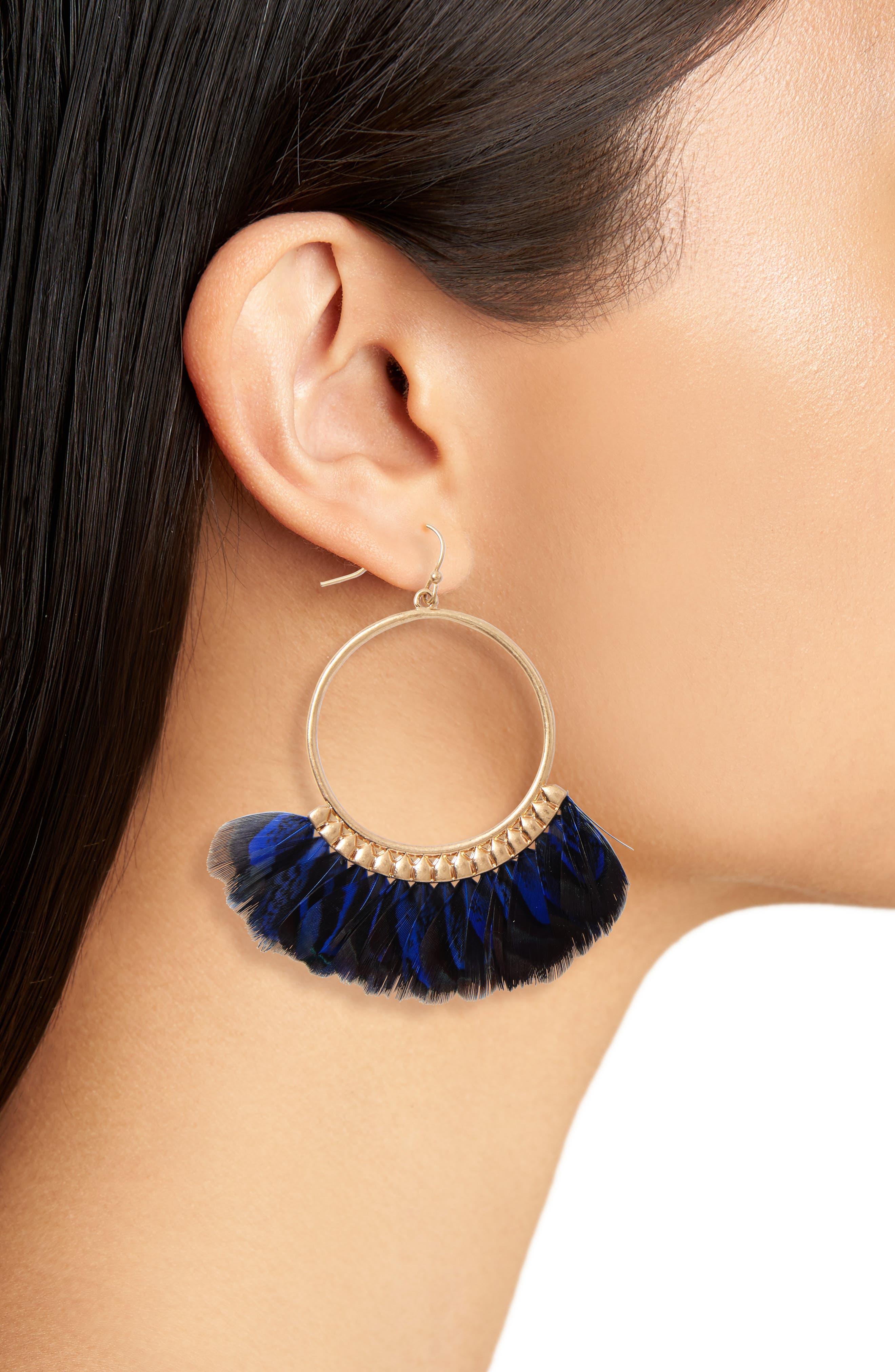 Feather Hoop Earrings,                             Alternate thumbnail 3, color,