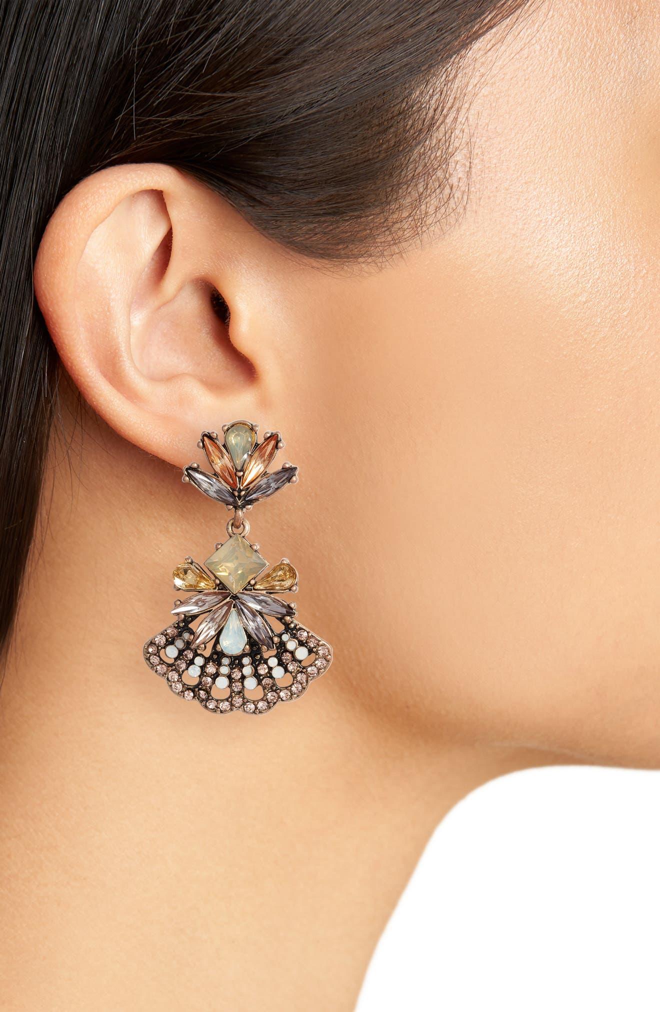 Crystal Fan Earrings,                             Alternate thumbnail 2, color,                             710