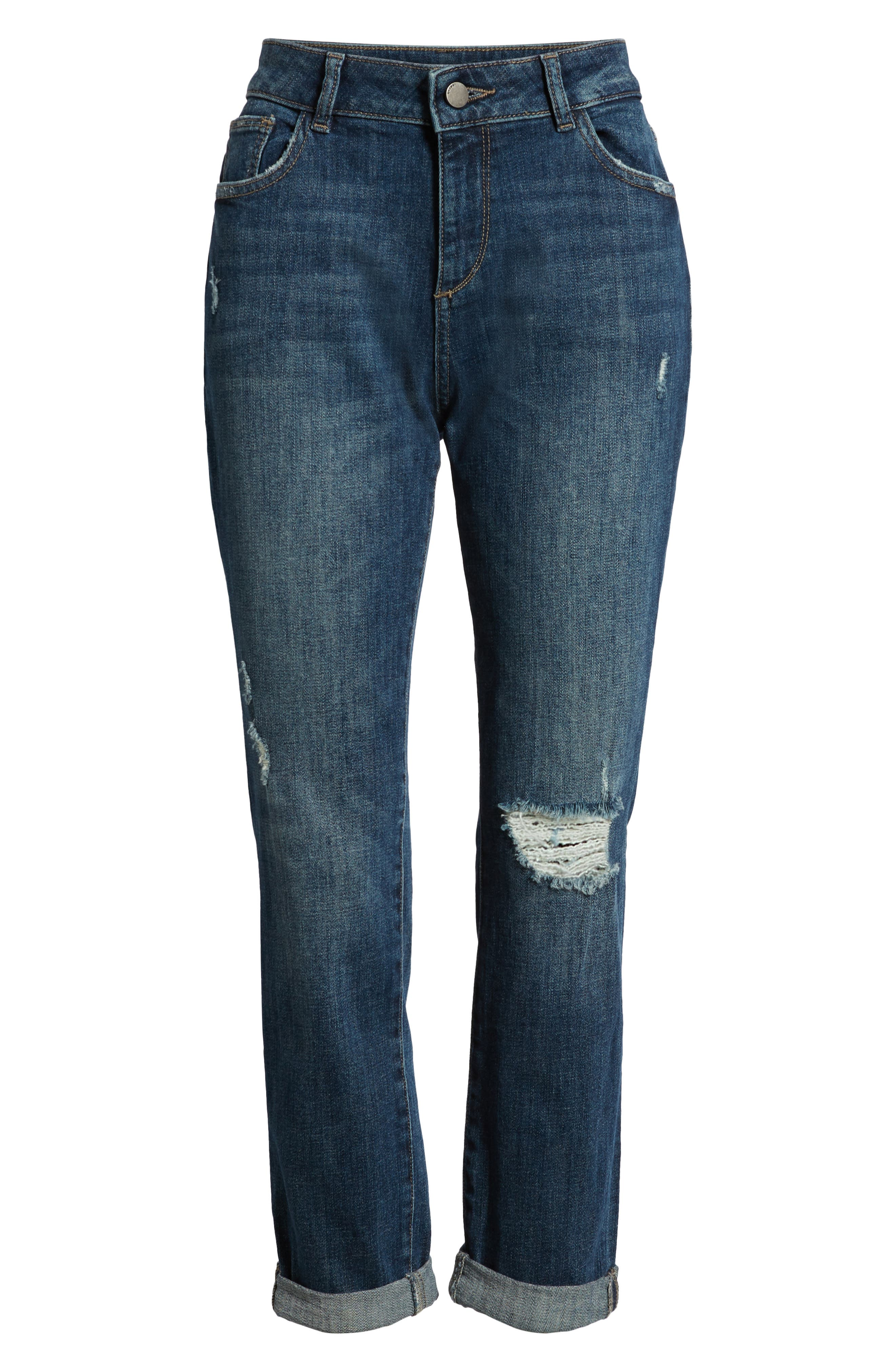 Stevie Ripped Crop Slim Boyfriend Jeans,                             Alternate thumbnail 7, color,                             HAWLEY