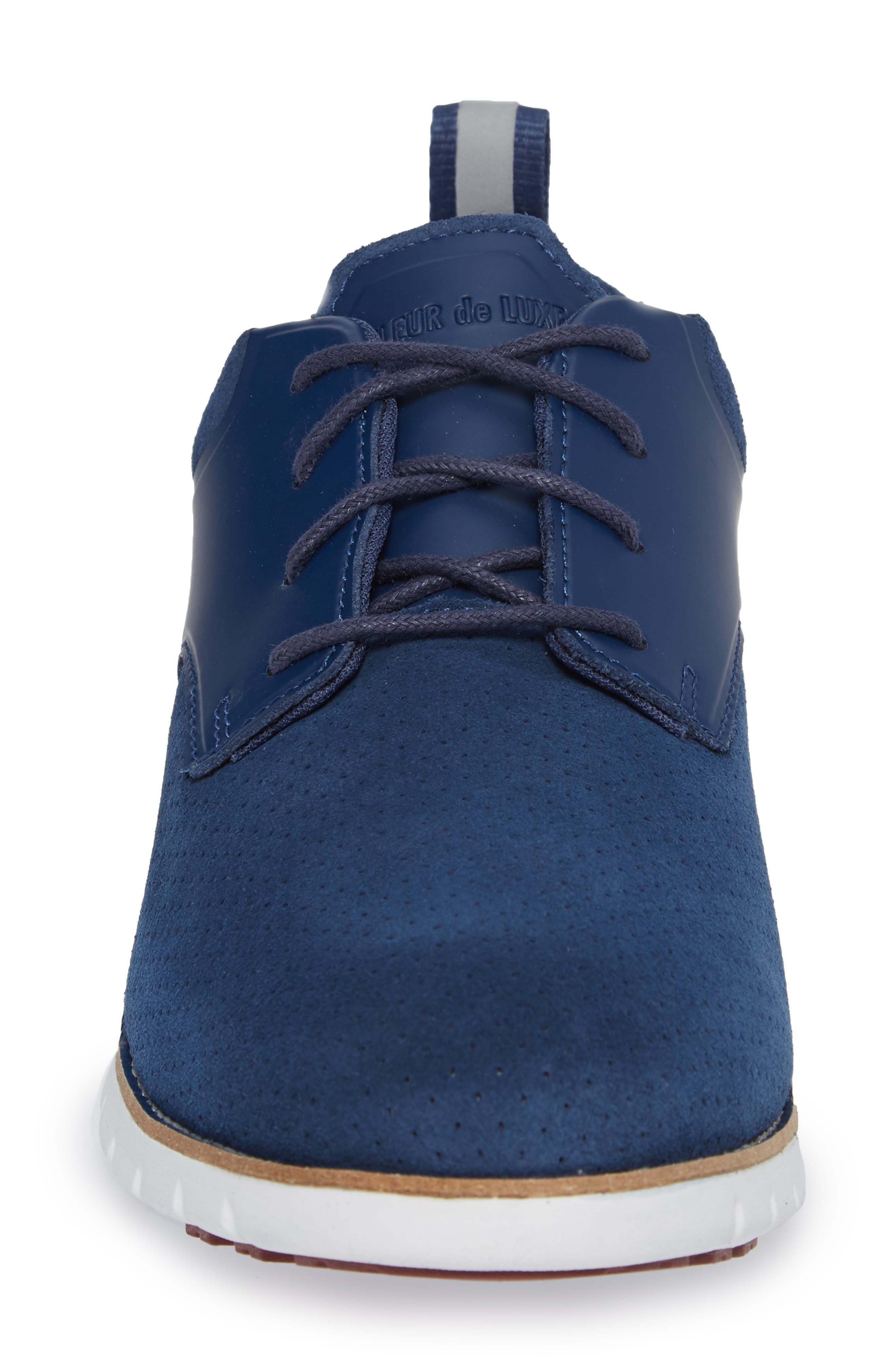 Ridley Perforated Low Top Sneaker,                             Alternate thumbnail 4, color,                             NAVY LEATHER