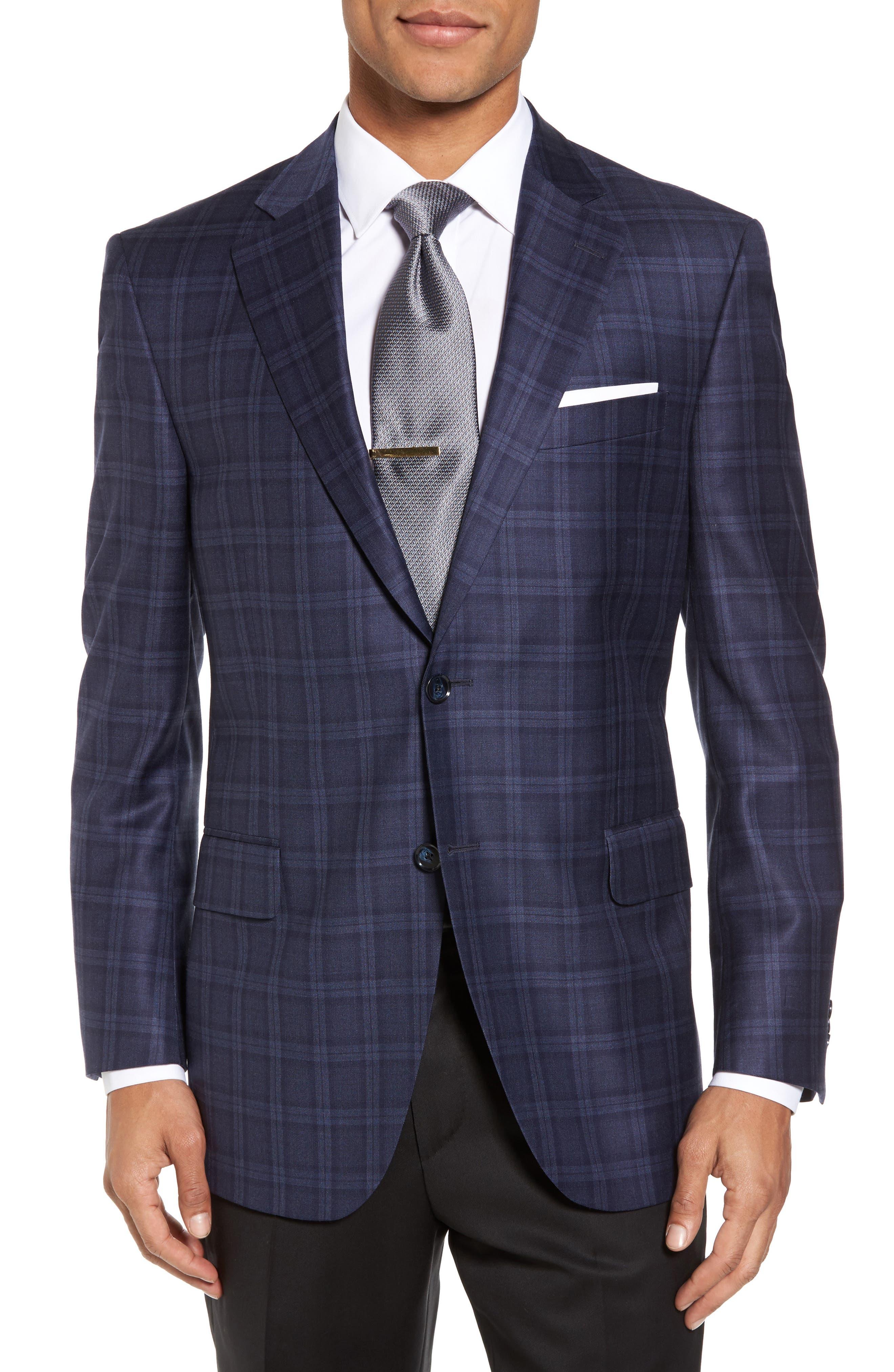 Classic Fit Windowpane Wool Sport Coat,                         Main,                         color,