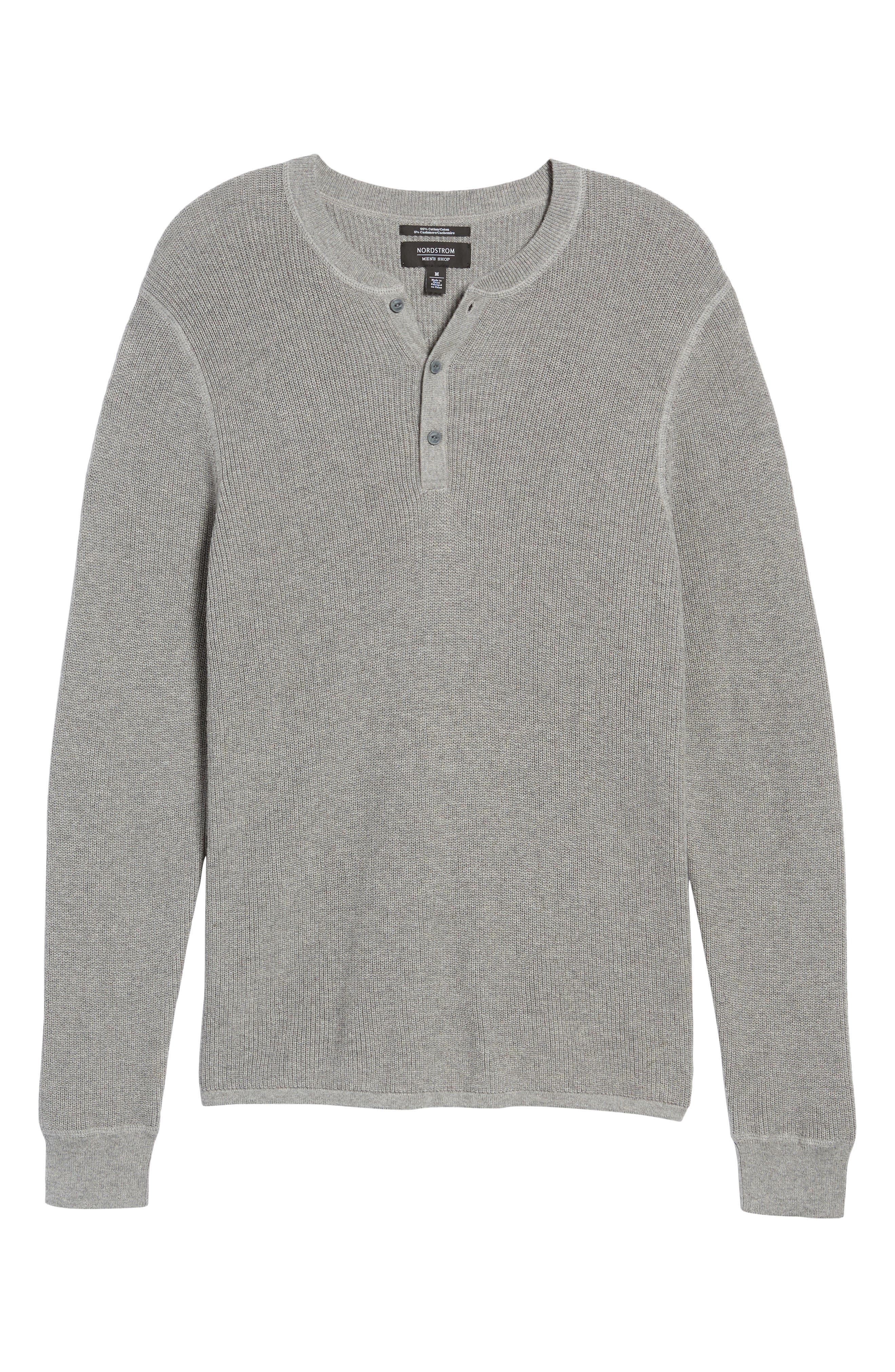 Cotton & Cashmere Henley Sweater,                             Alternate thumbnail 6, color,                             030