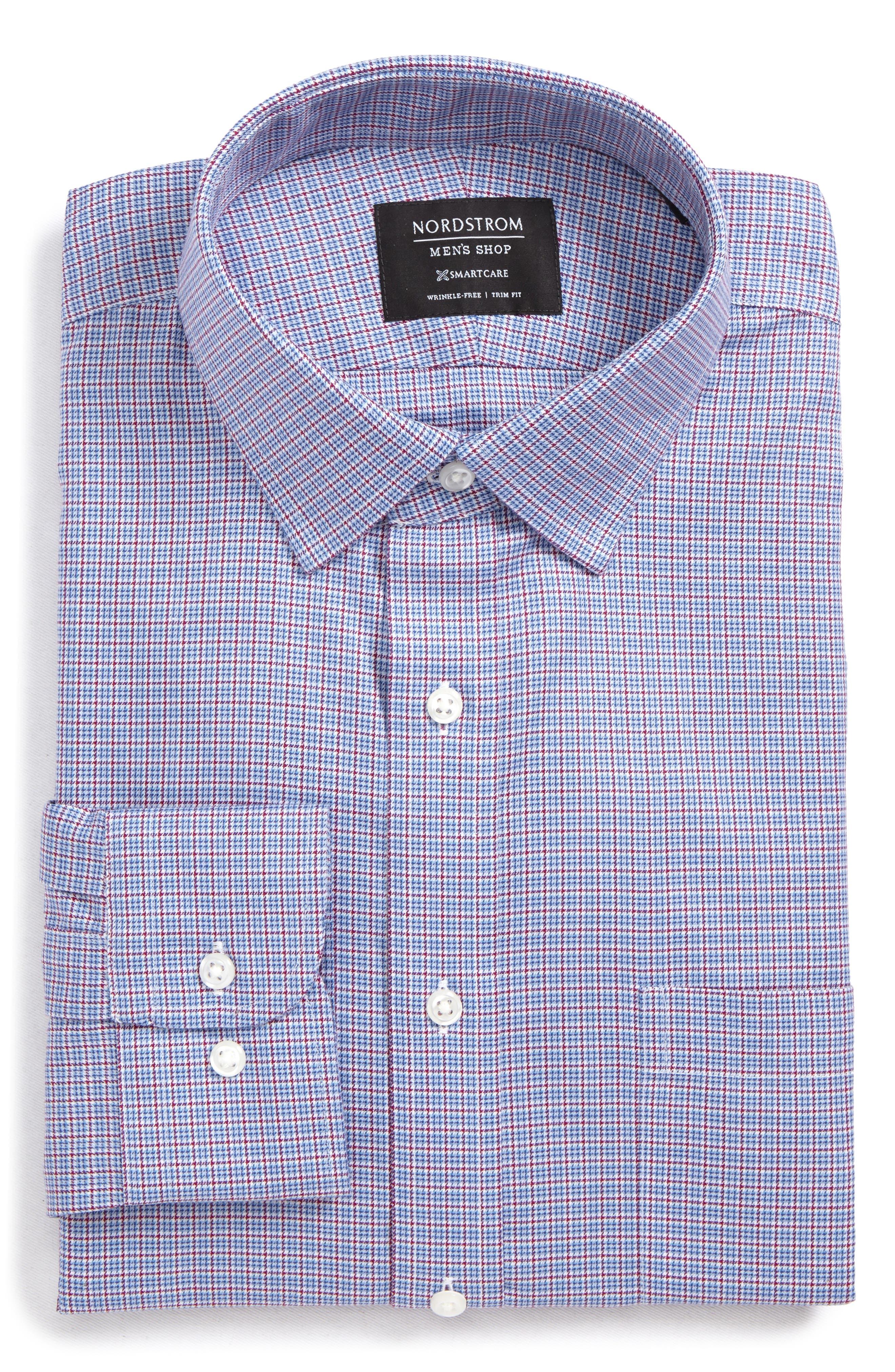 Smartcare<sup>™</sup> Trim Fit Check Dress Shirt,                             Alternate thumbnail 5, color,                             601