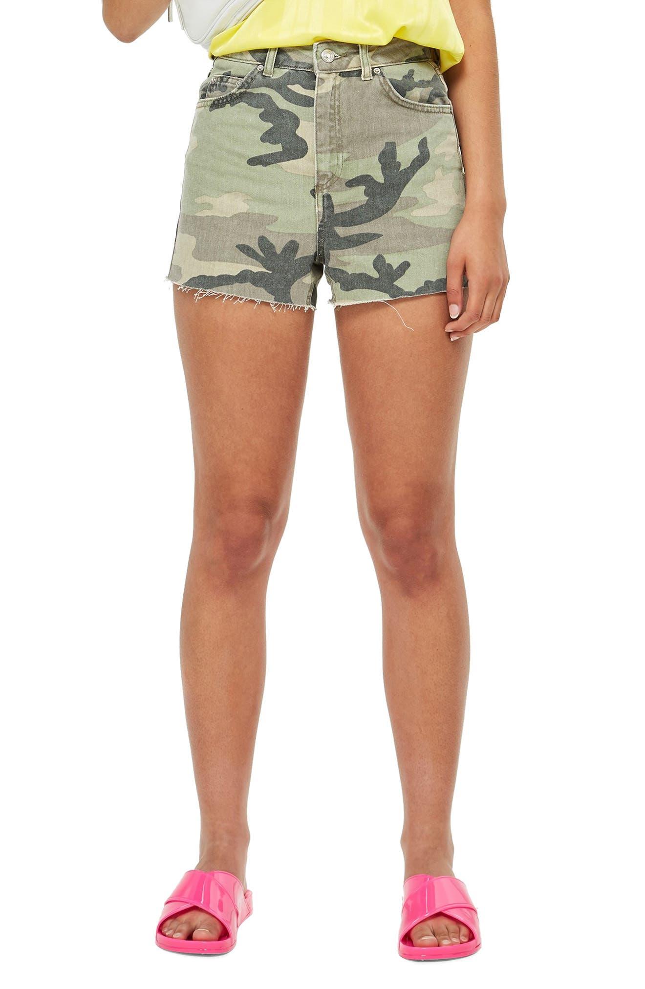 TOPSHOP Camo Denim Mom Shorts, Main, color, 300