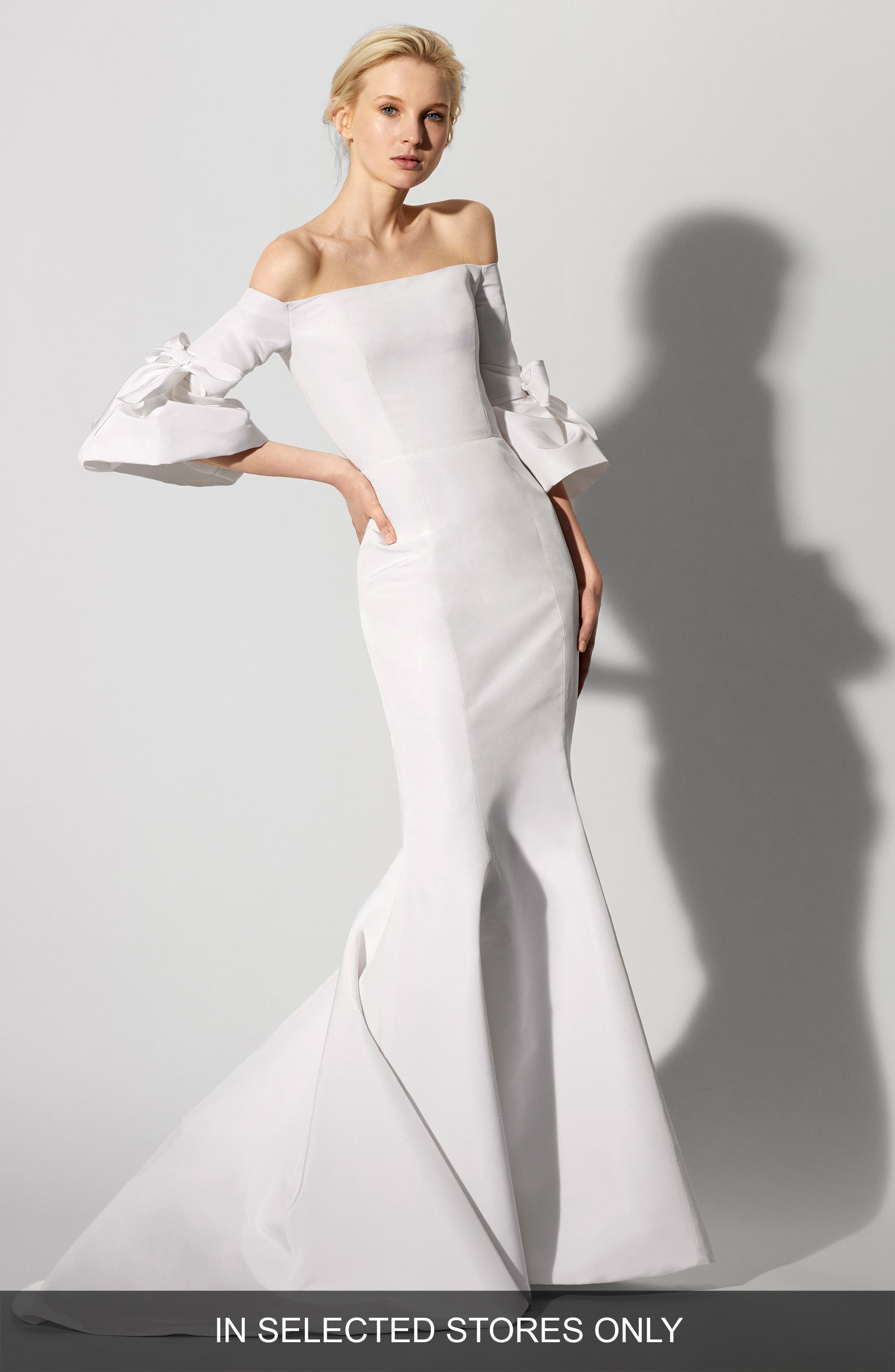Faye Off the Shoulder Silk Faille Mermaid Gown,                         Main,                         color, IVORY
