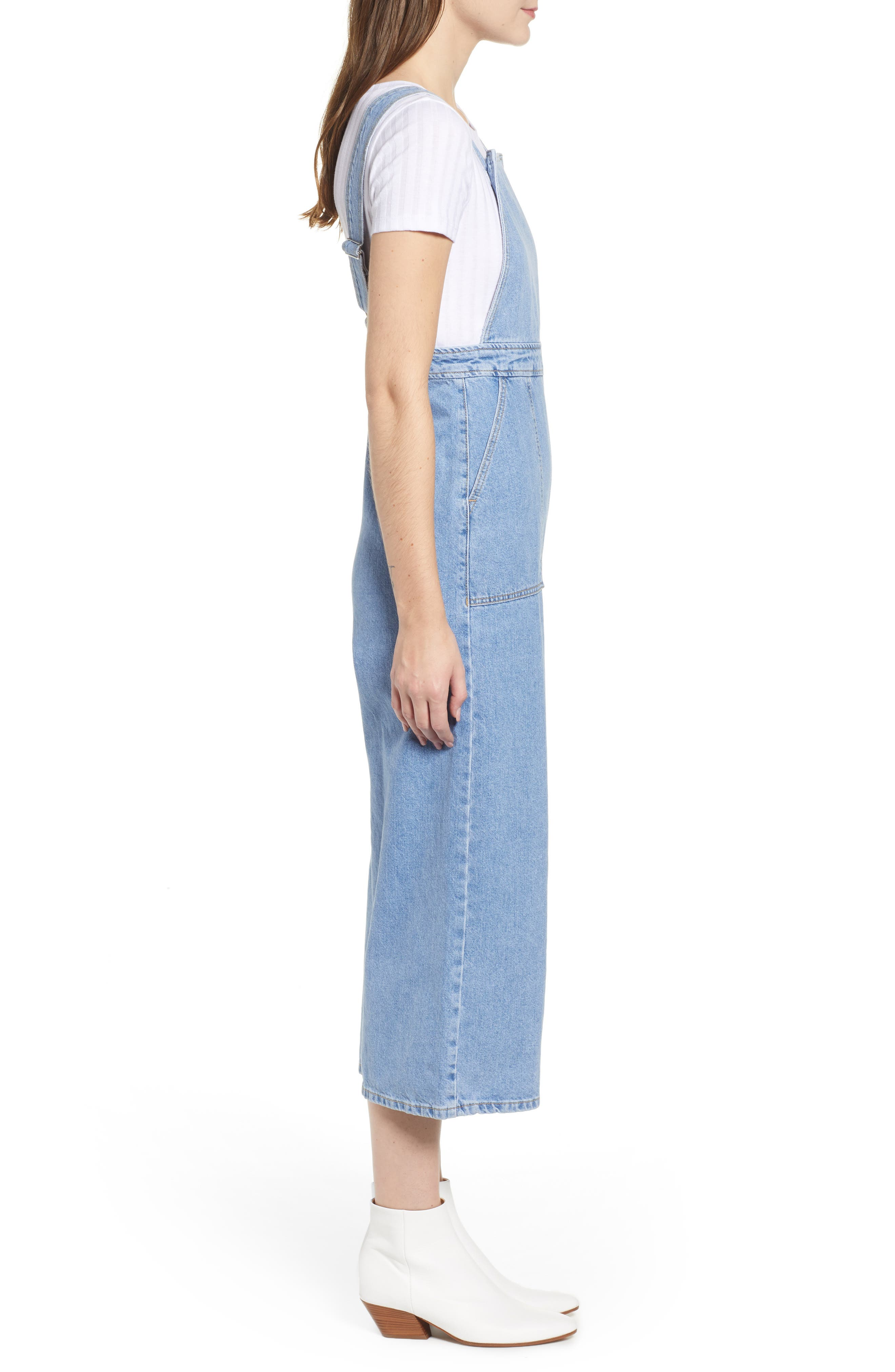 Wide Leg Crop Overalls,                             Alternate thumbnail 3, color,                             MID STONE