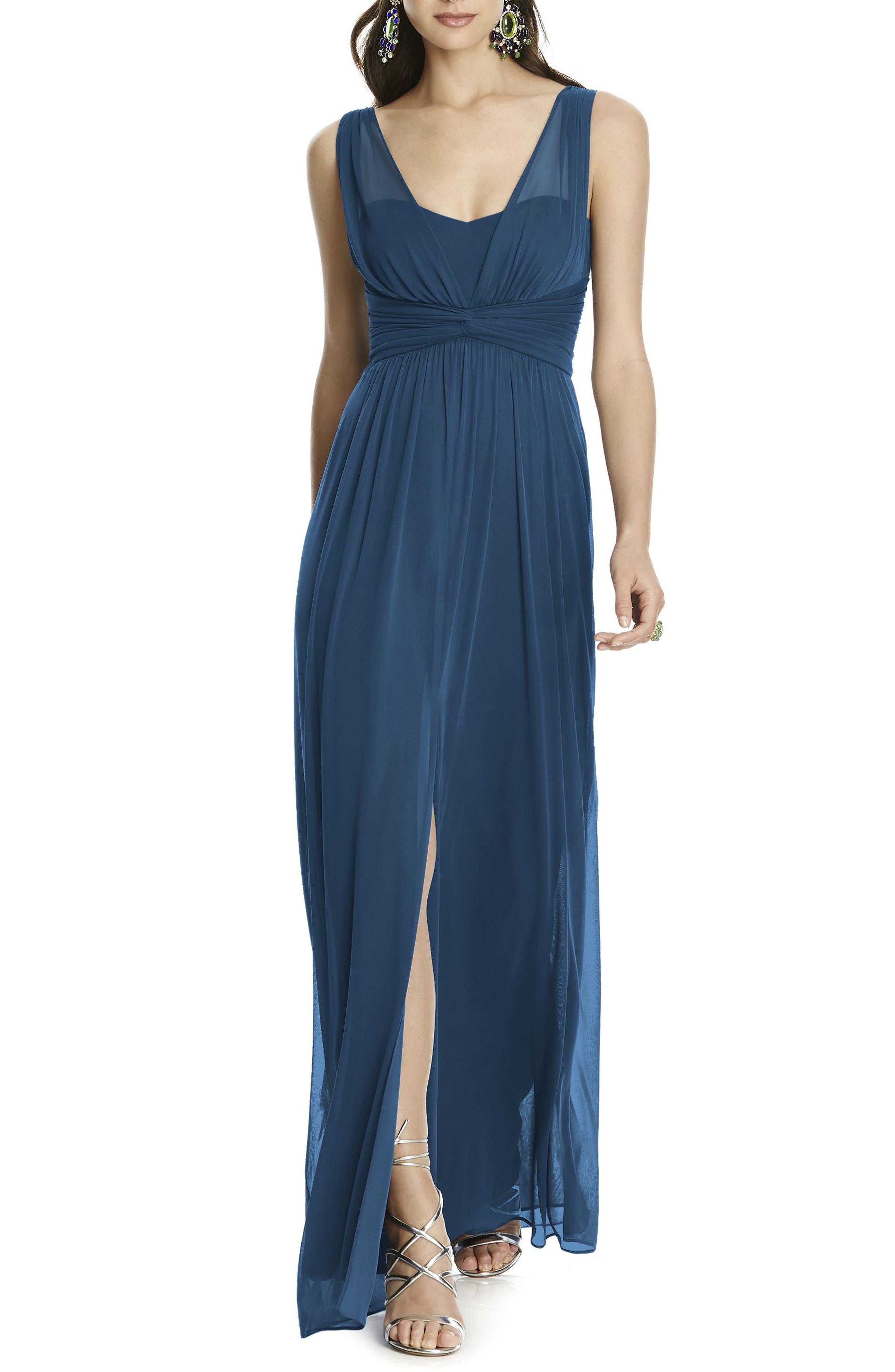 Illusion Sleeve Chiffon Column Gown,                         Main,                         color, 409