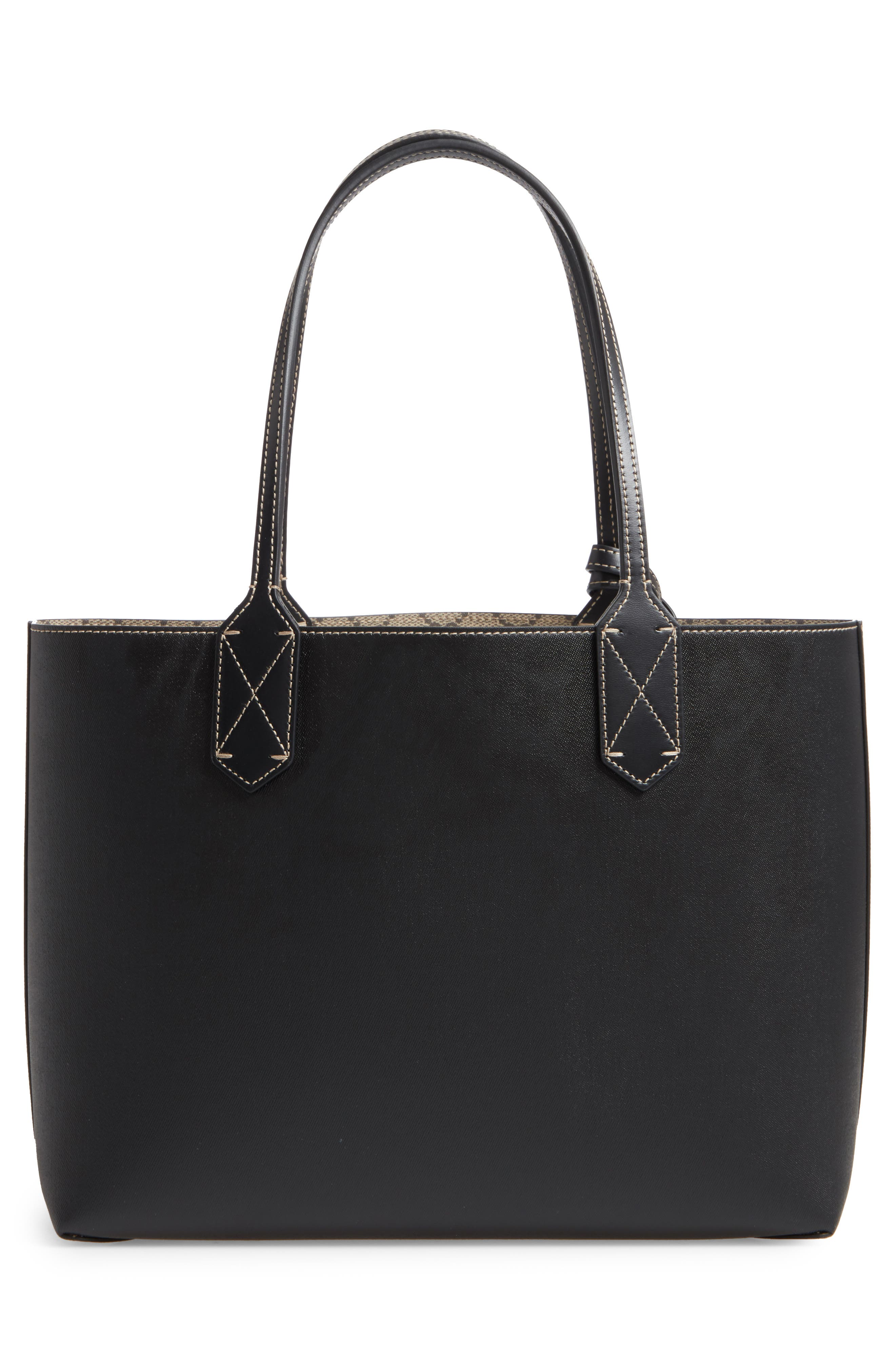 Small Turnaround Reversible Leather Tote,                             Alternate thumbnail 4, color,                             BEIGE EBONY/BLK