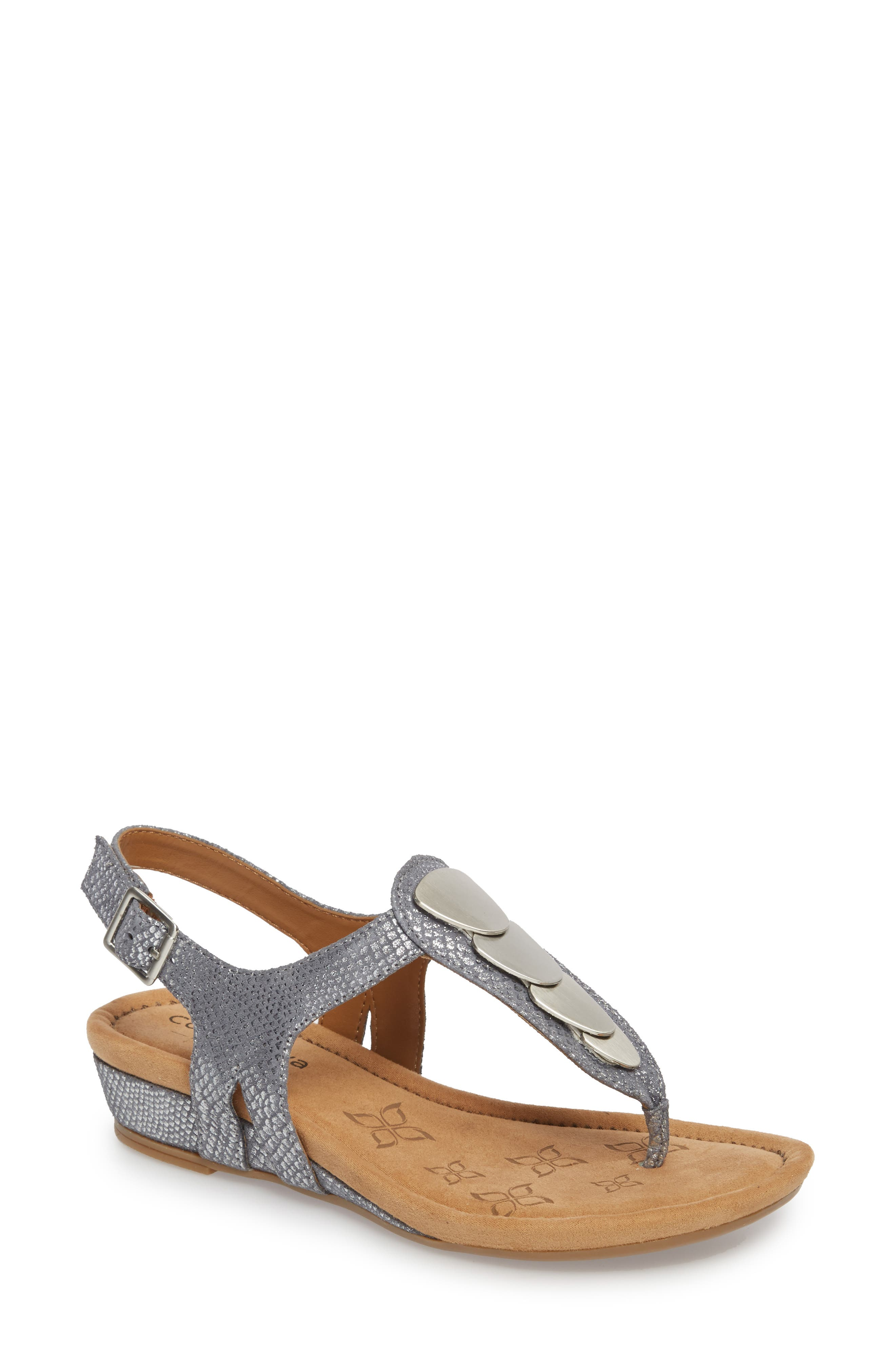 Summit Wedge Sandal,                             Main thumbnail 1, color,                             PEWTER SUEDE