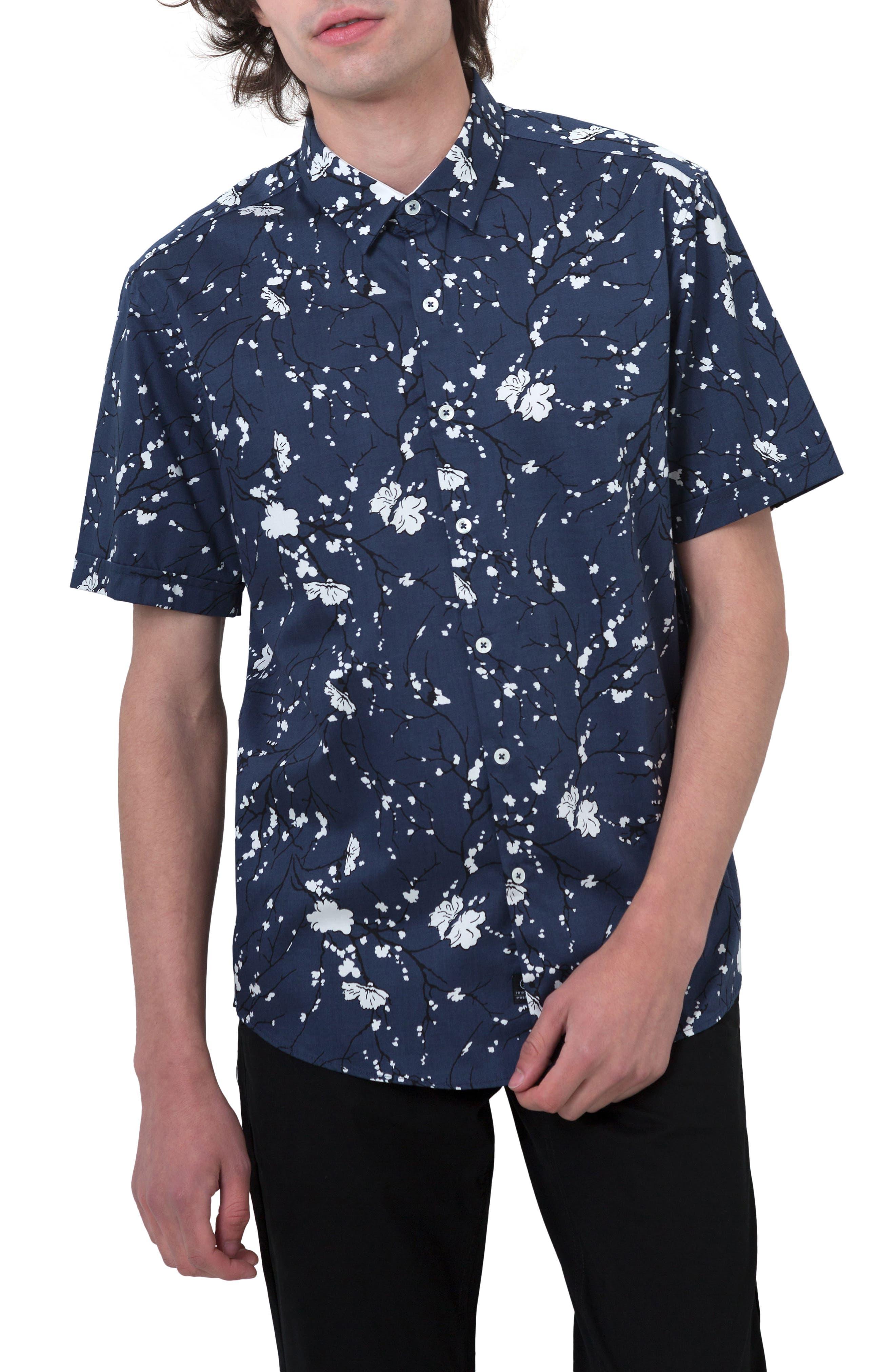 Print Woven Shirt,                         Main,                         color, 410