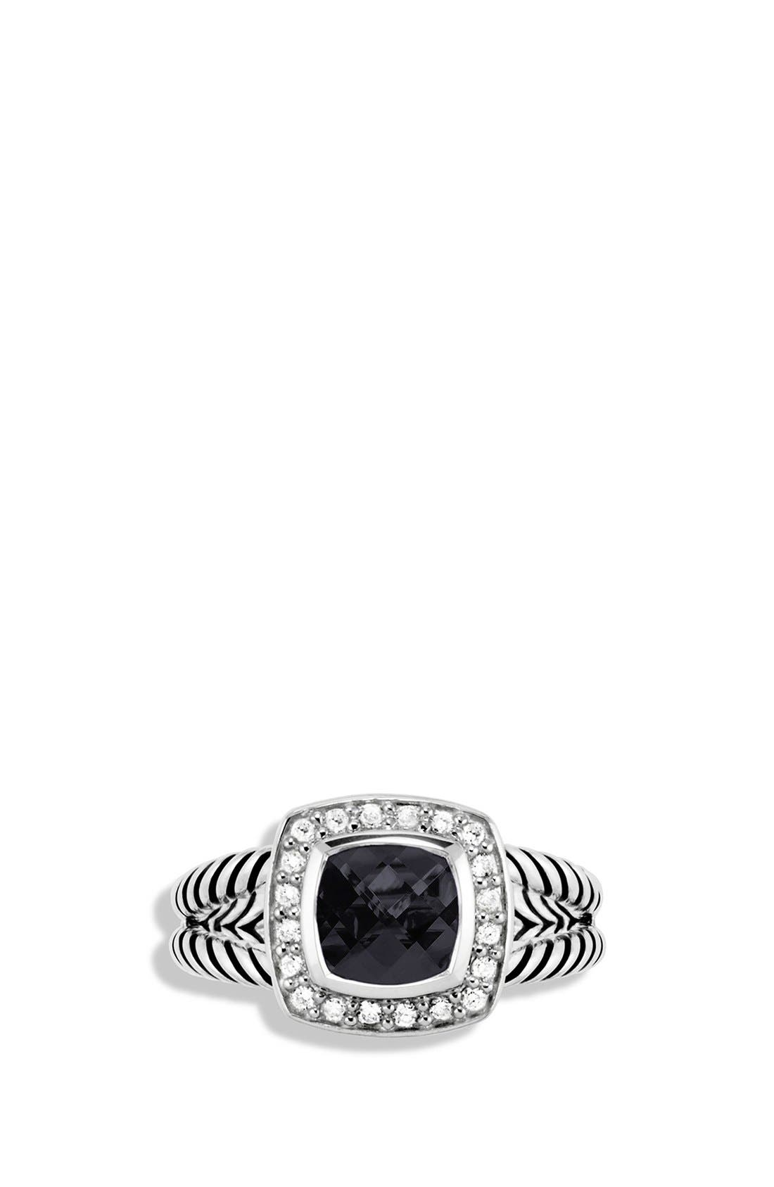 'Albion' Petite Ring with Semiprecious Stone & Diamonds,                             Alternate thumbnail 3, color,                             BLACK ONYX