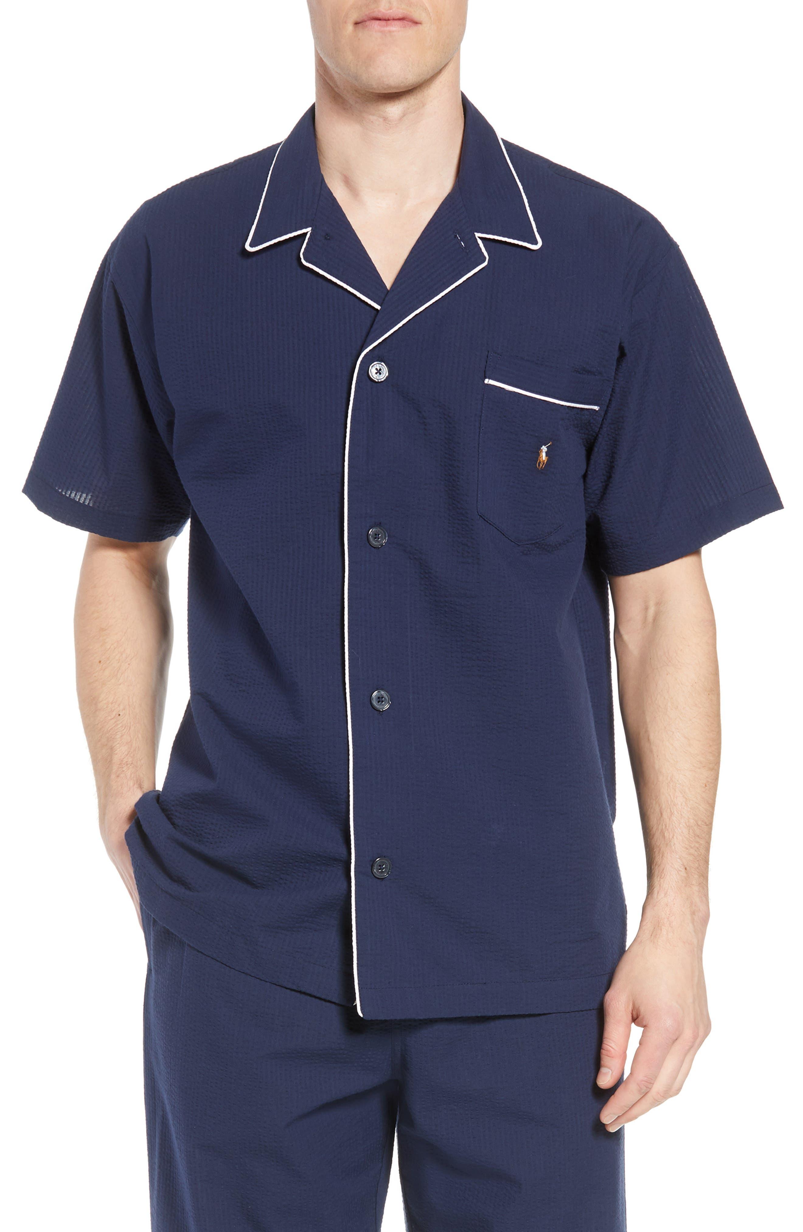 Seersucker Pajama Shirt,                             Main thumbnail 1, color,                             421