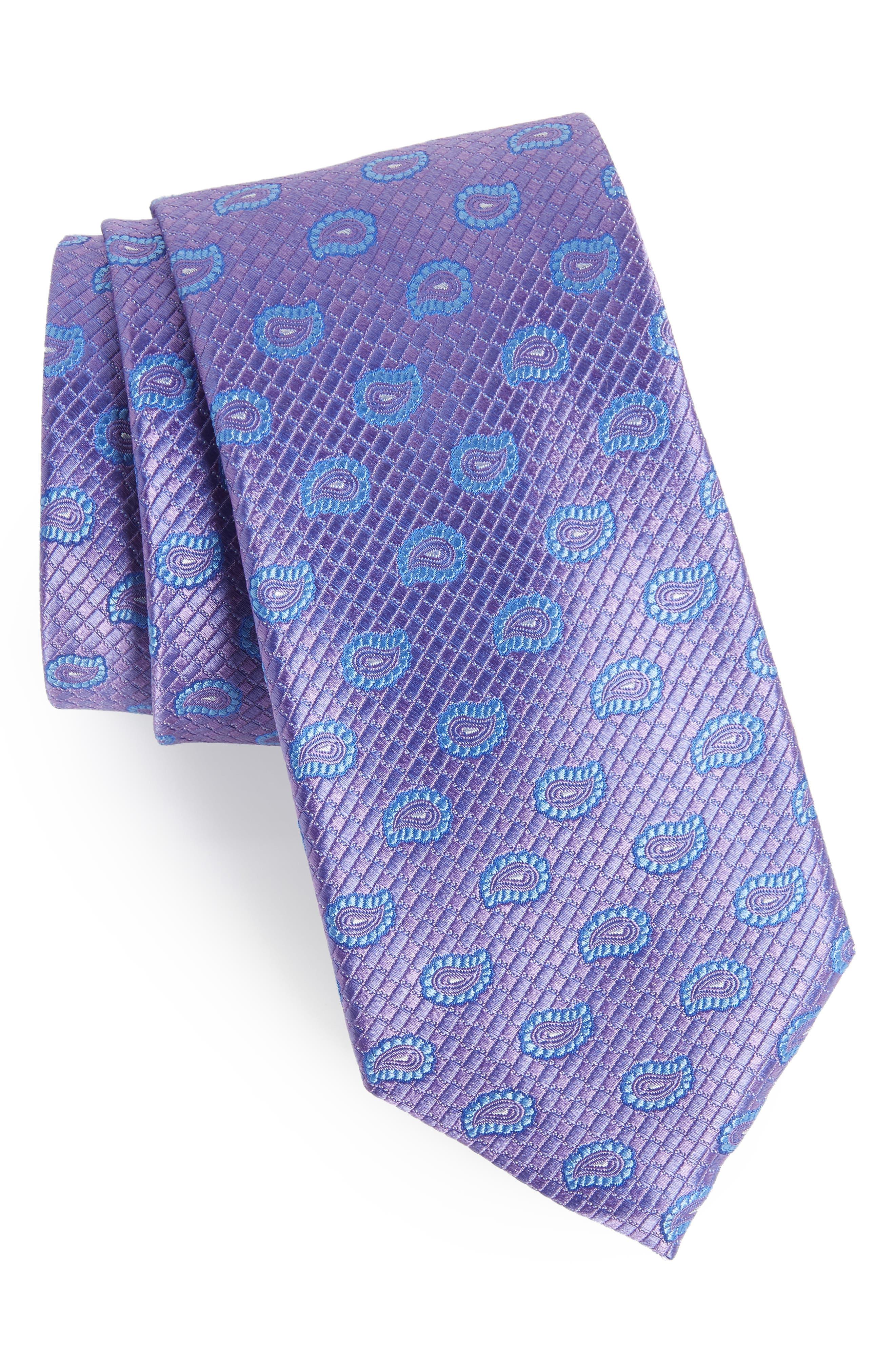 Clarksonton Paisley Silk Tie,                         Main,                         color, LILAC