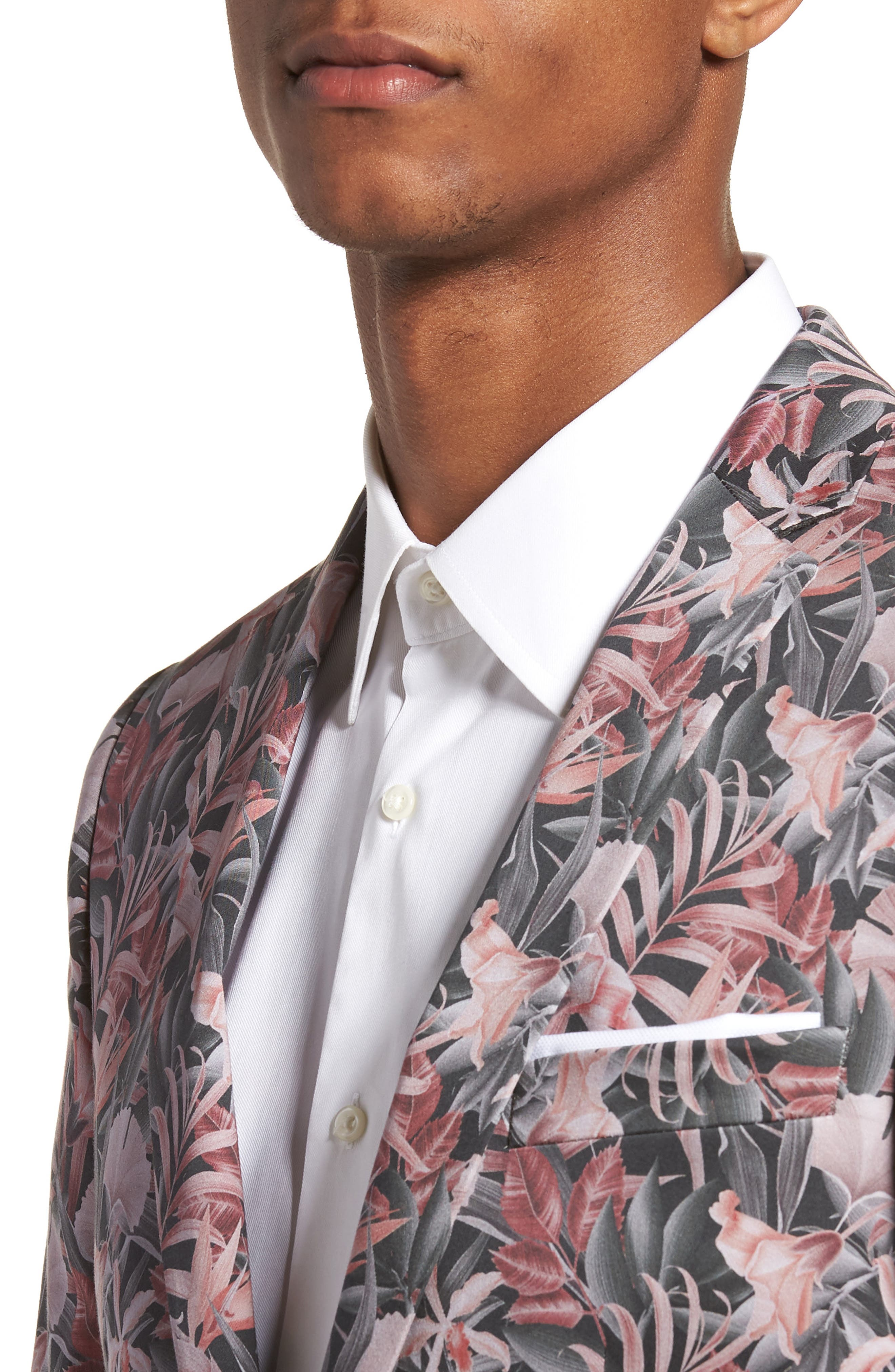 Ultra Skinny Fit Hibiscus Print Suit Jacket,                             Alternate thumbnail 4, color,                             650