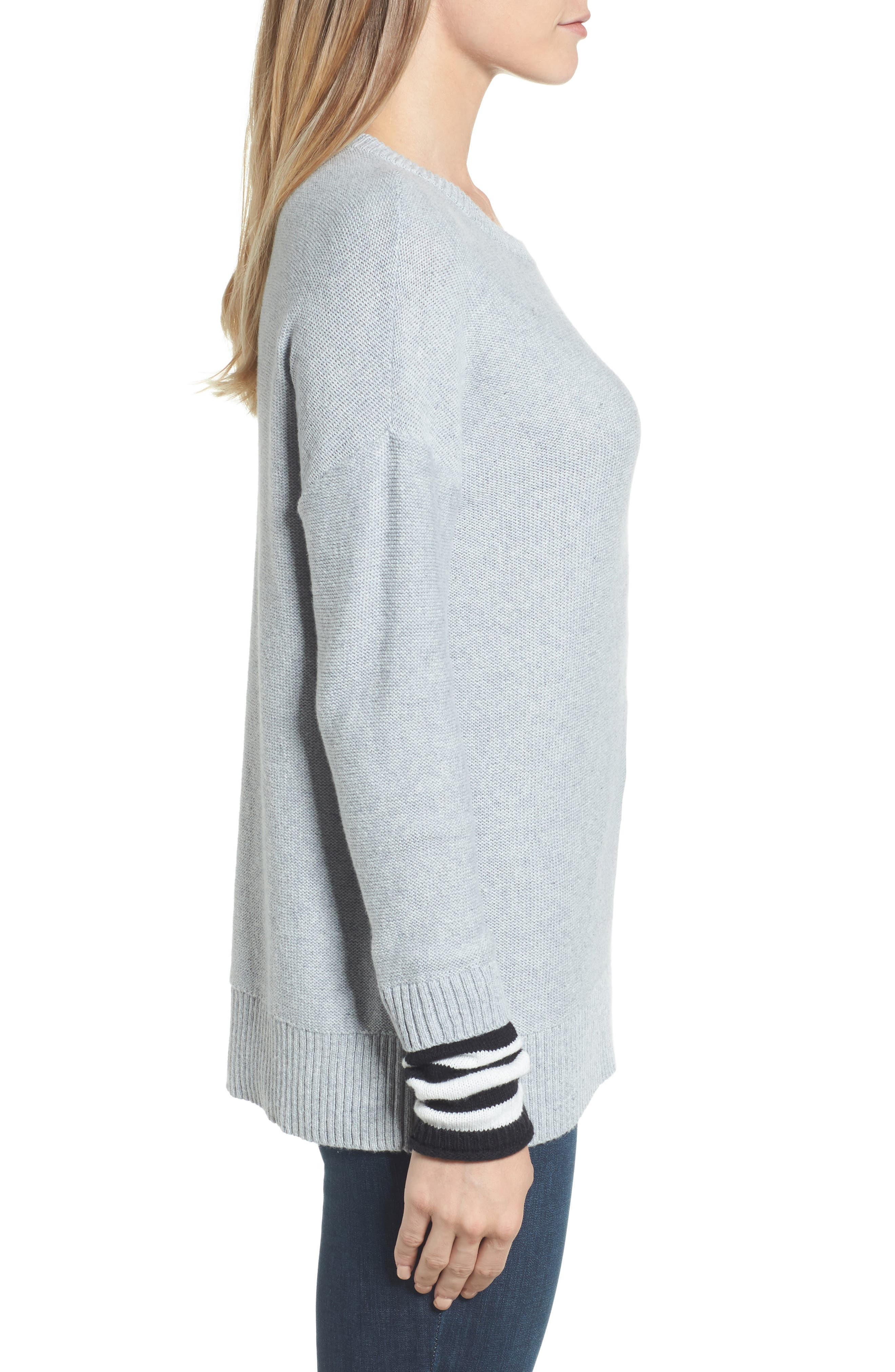 Contrast Cuff Crewneck Sweater,                             Alternate thumbnail 3, color,                             030