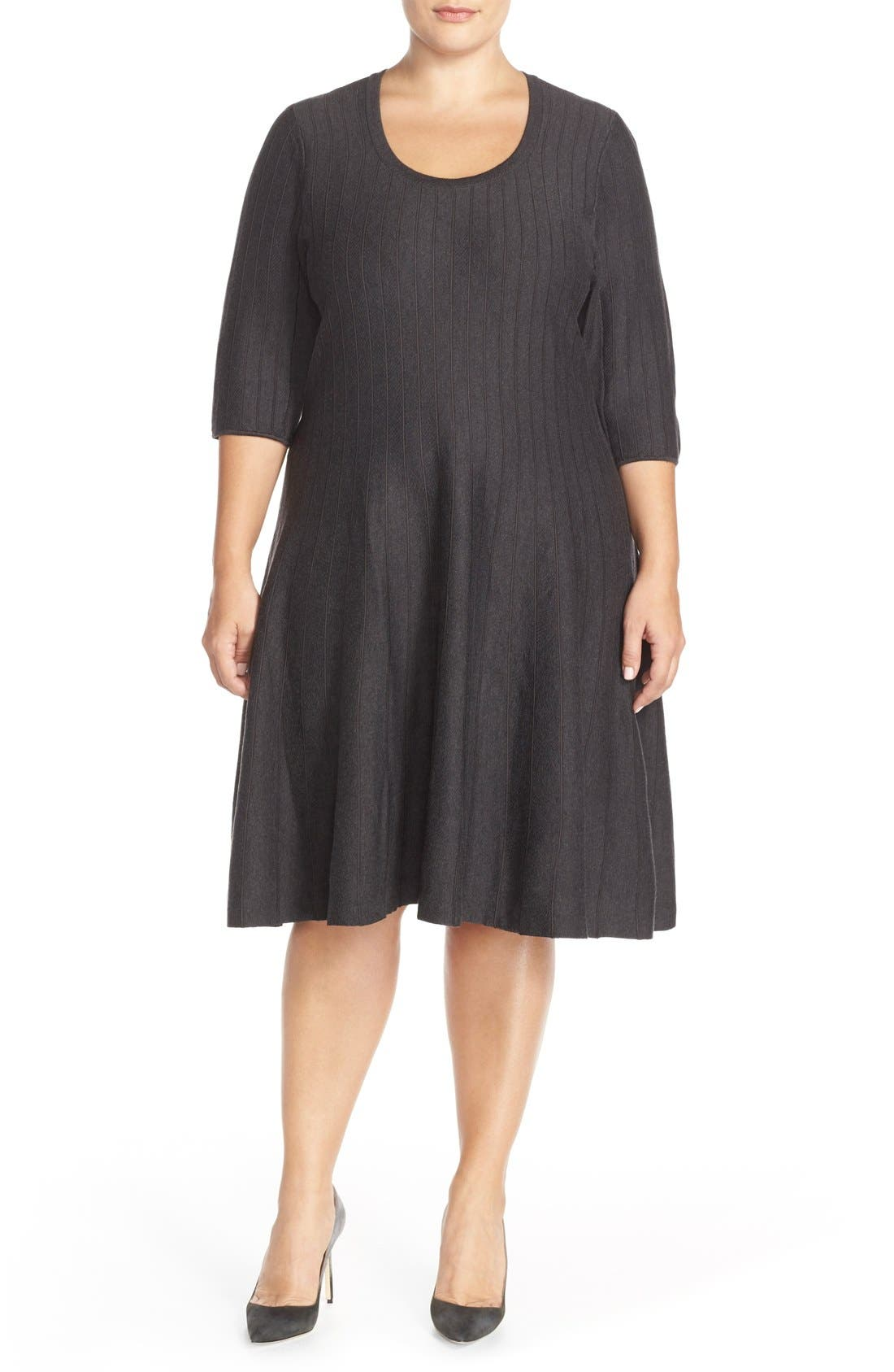 'Twirl' Elbow Sleeve Knit Fit & Flare Dress,                             Main thumbnail 1, color,                             PHANTOM HEATHER