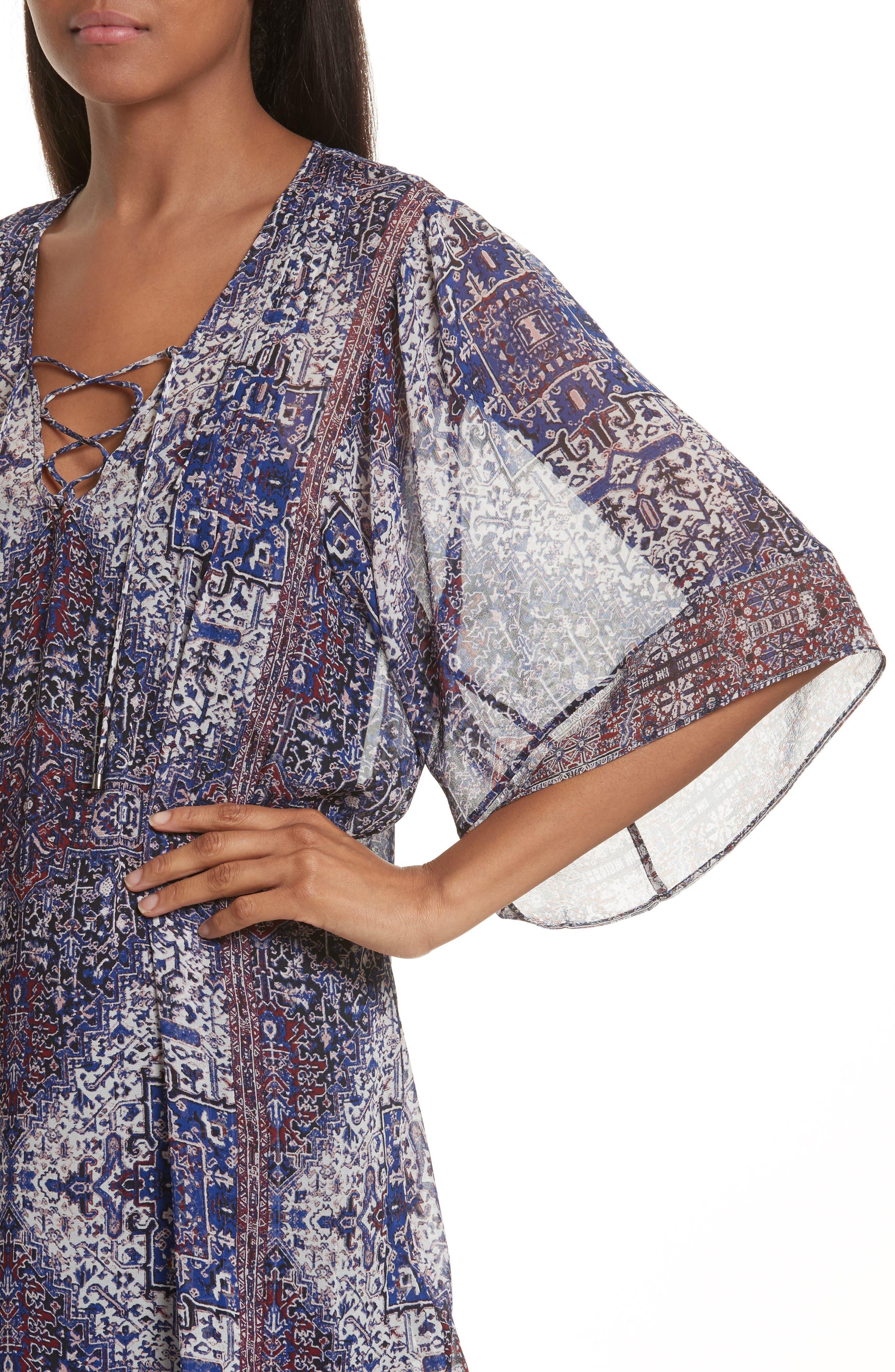 Hadiya Print Silk Dress,                             Alternate thumbnail 4, color,