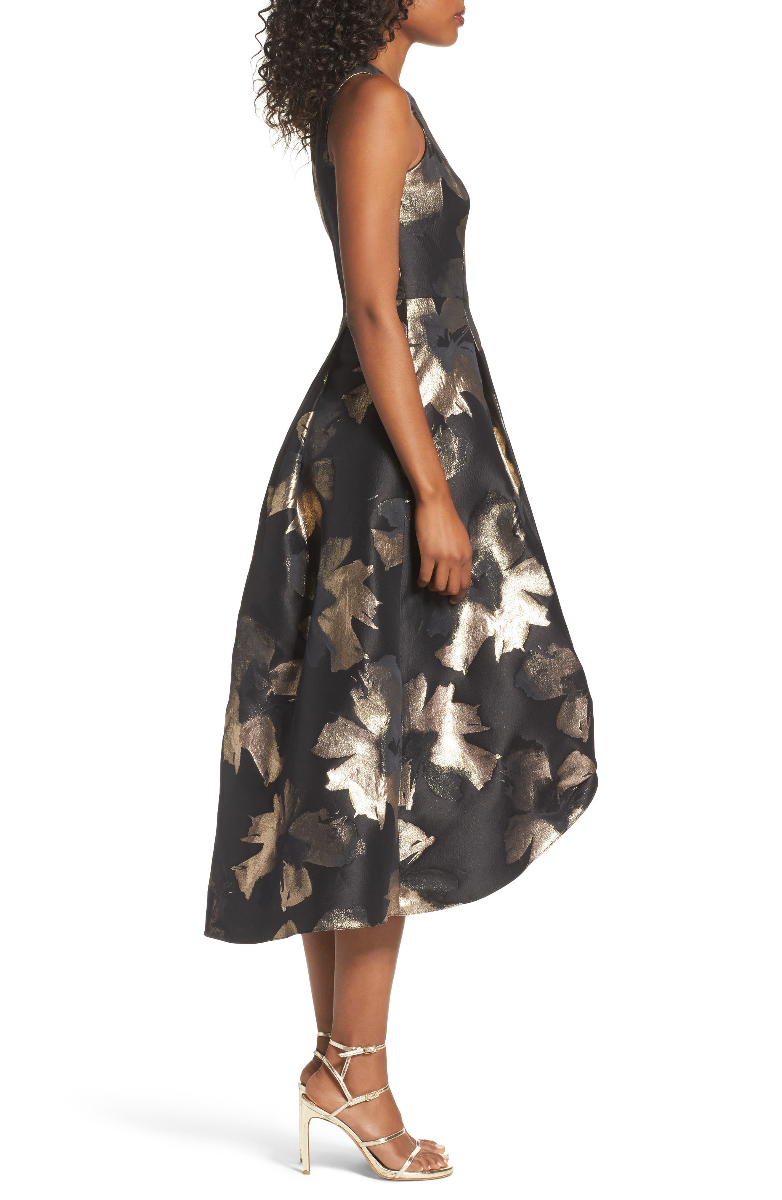 Coraline Brocade High/Low Gown,                             Alternate thumbnail 3, color,                             009