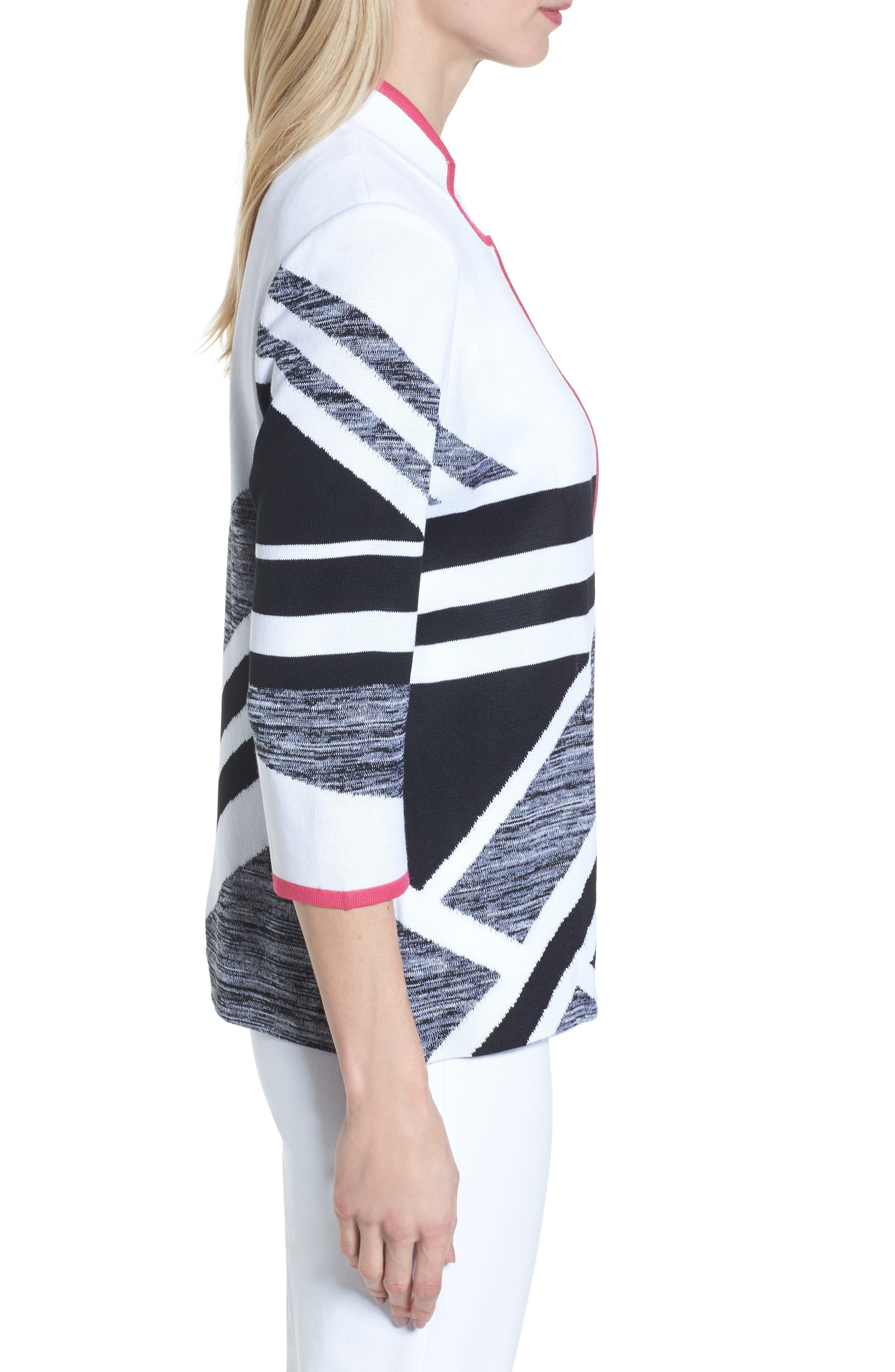 Geometric Knit Jacket,                             Alternate thumbnail 3, color,