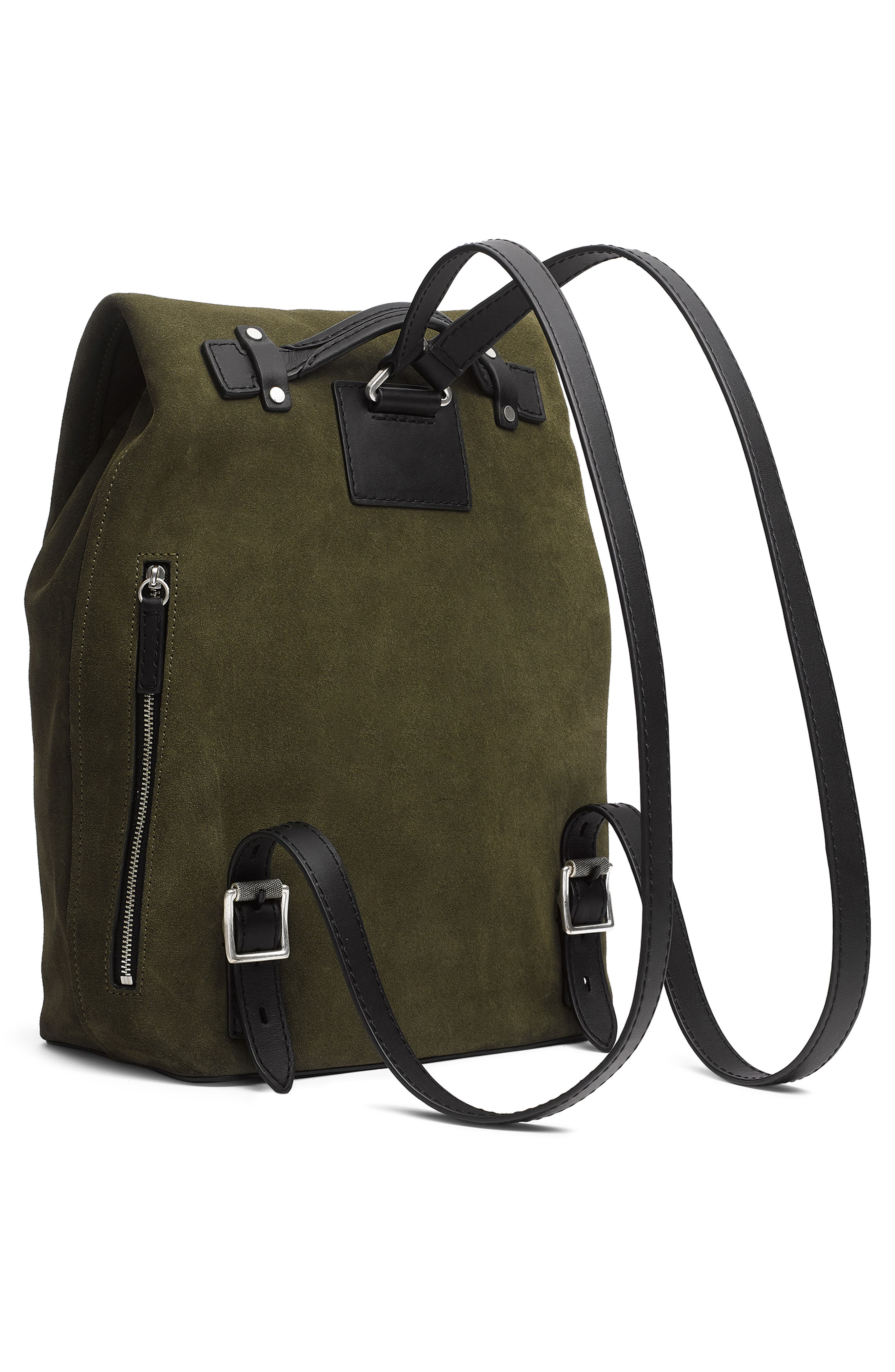 Loner Leather Backpack,                             Alternate thumbnail 3, color,                             OLIVE NIGHT SUEDE