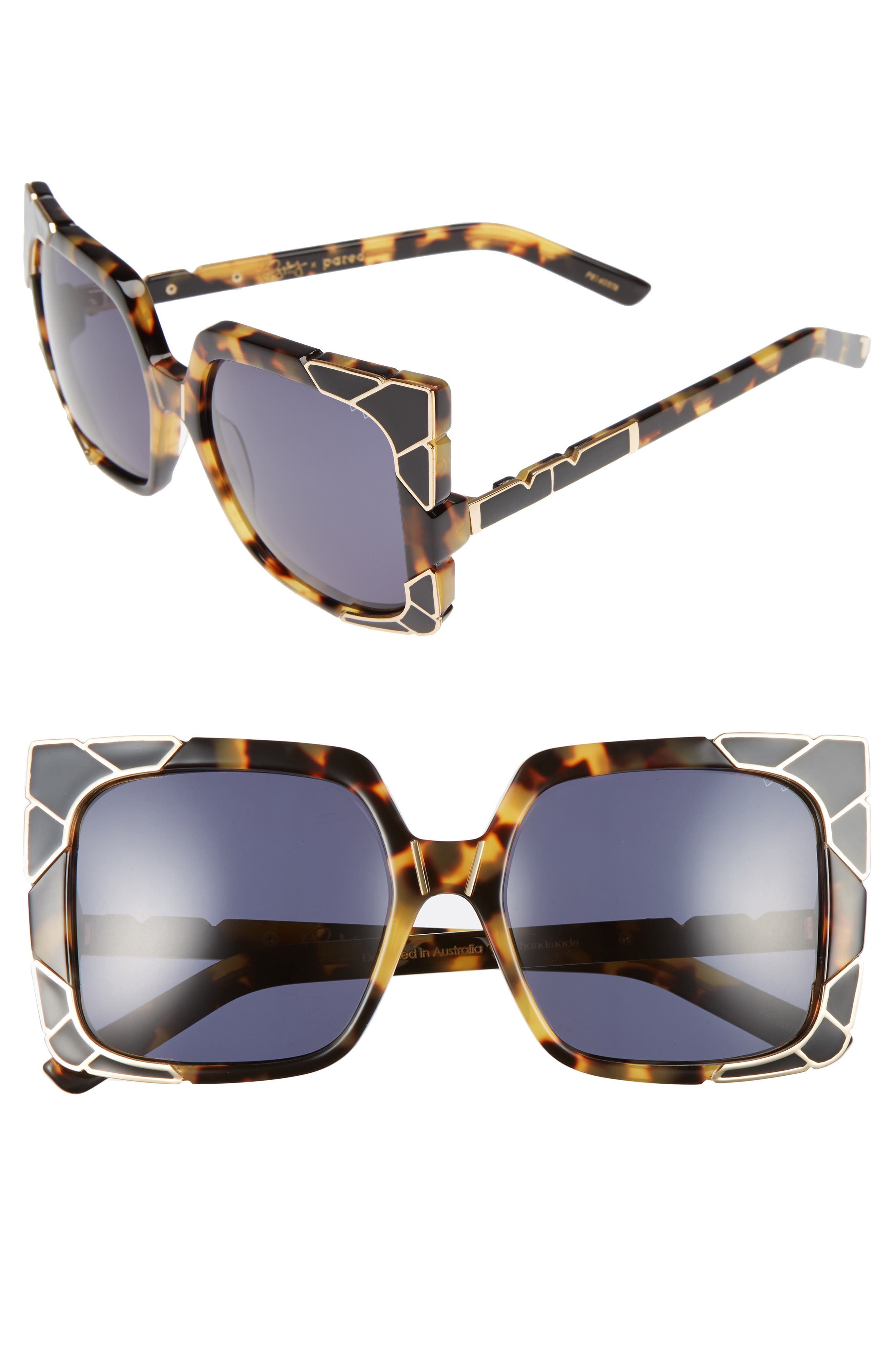 Sun & Shade 55mm Square Retro Sunglasses,                             Main thumbnail 1, color,                             DARK TORTOISE/ GOLD/ GREY