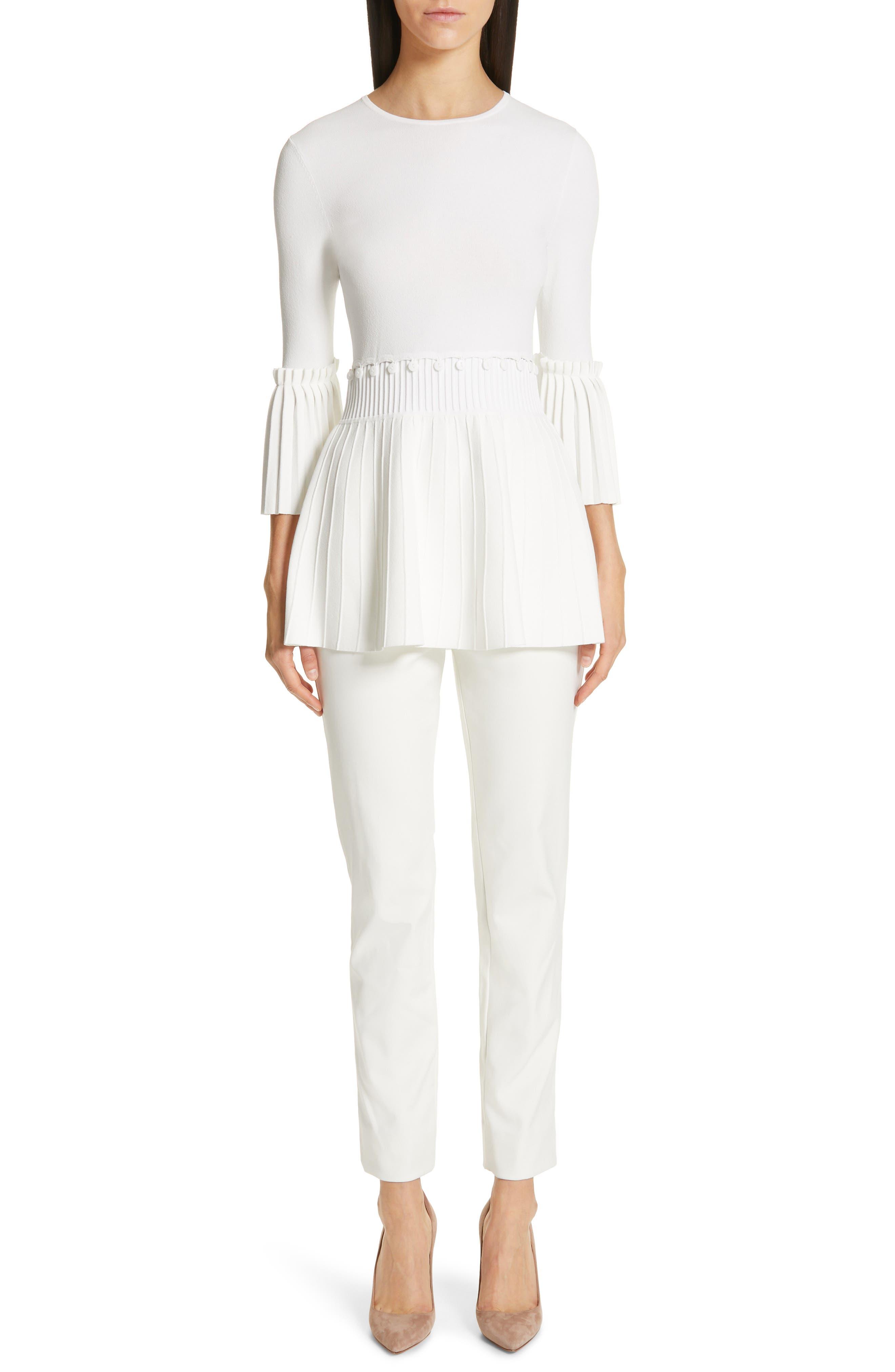 LELA ROSE,                             Pleated Knit Top,                             Alternate thumbnail 7, color,                             WHITE