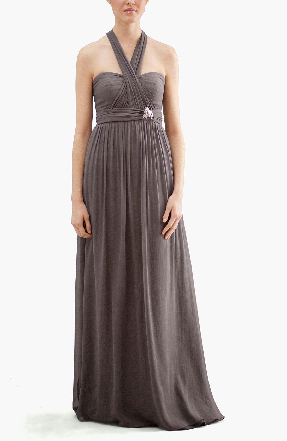Aidan Convertible Strapless Chiffon Gown,                             Alternate thumbnail 5, color,                             020