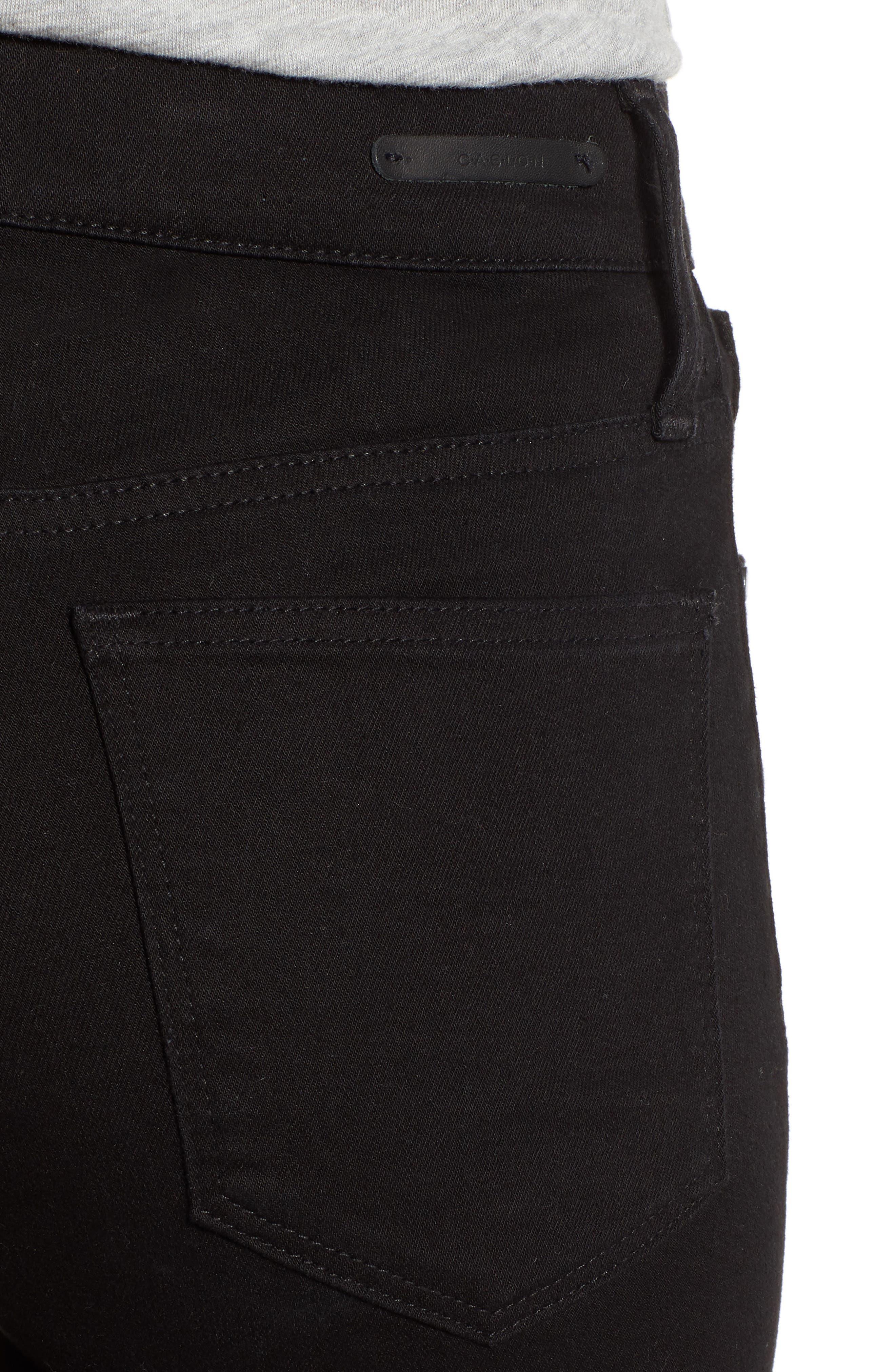 Kick Flare Crop Jeans,                             Alternate thumbnail 4, color,                             BLACK