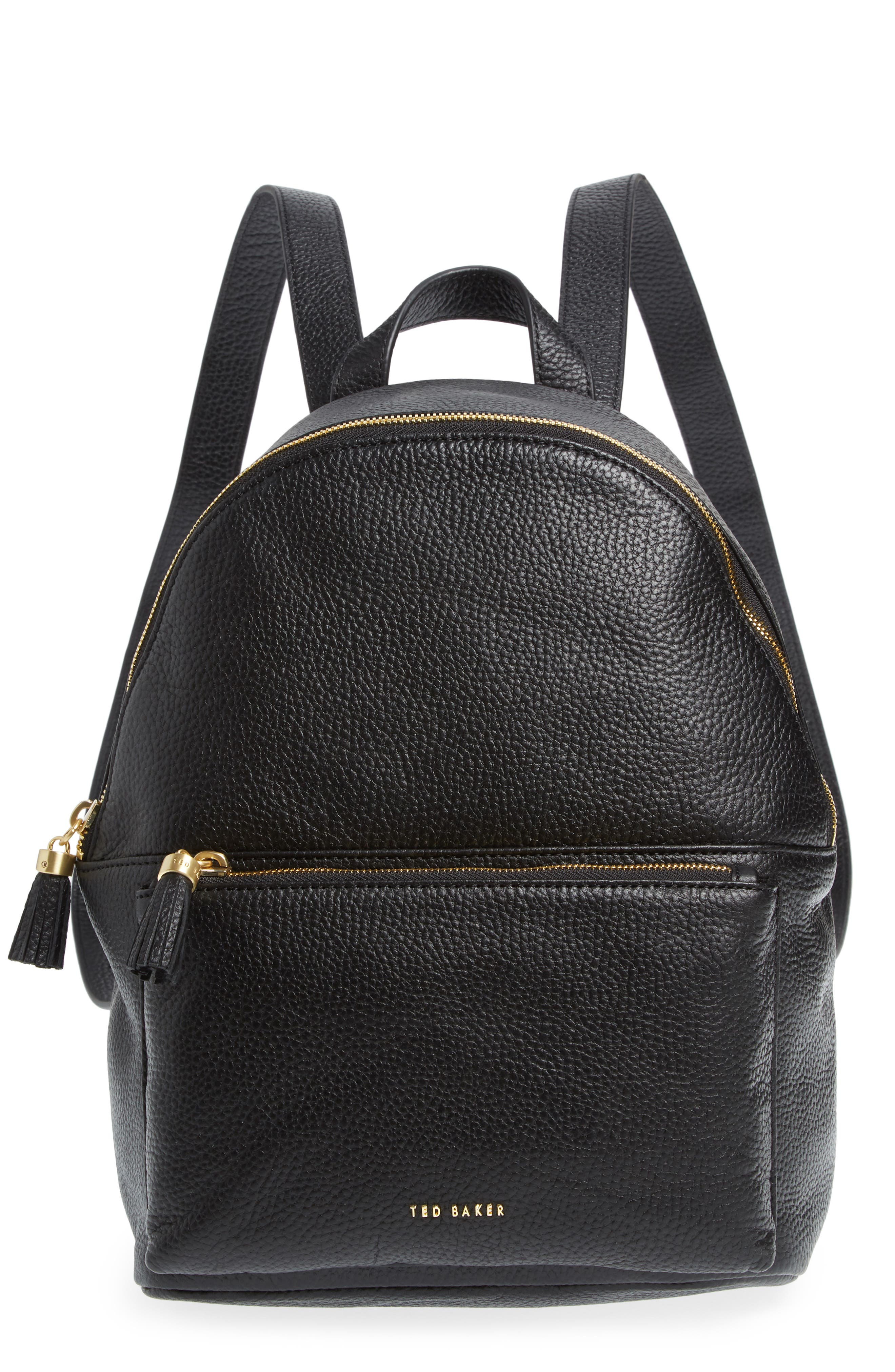 TED BAKER LONDON Leather Backpack, Main, color, 001
