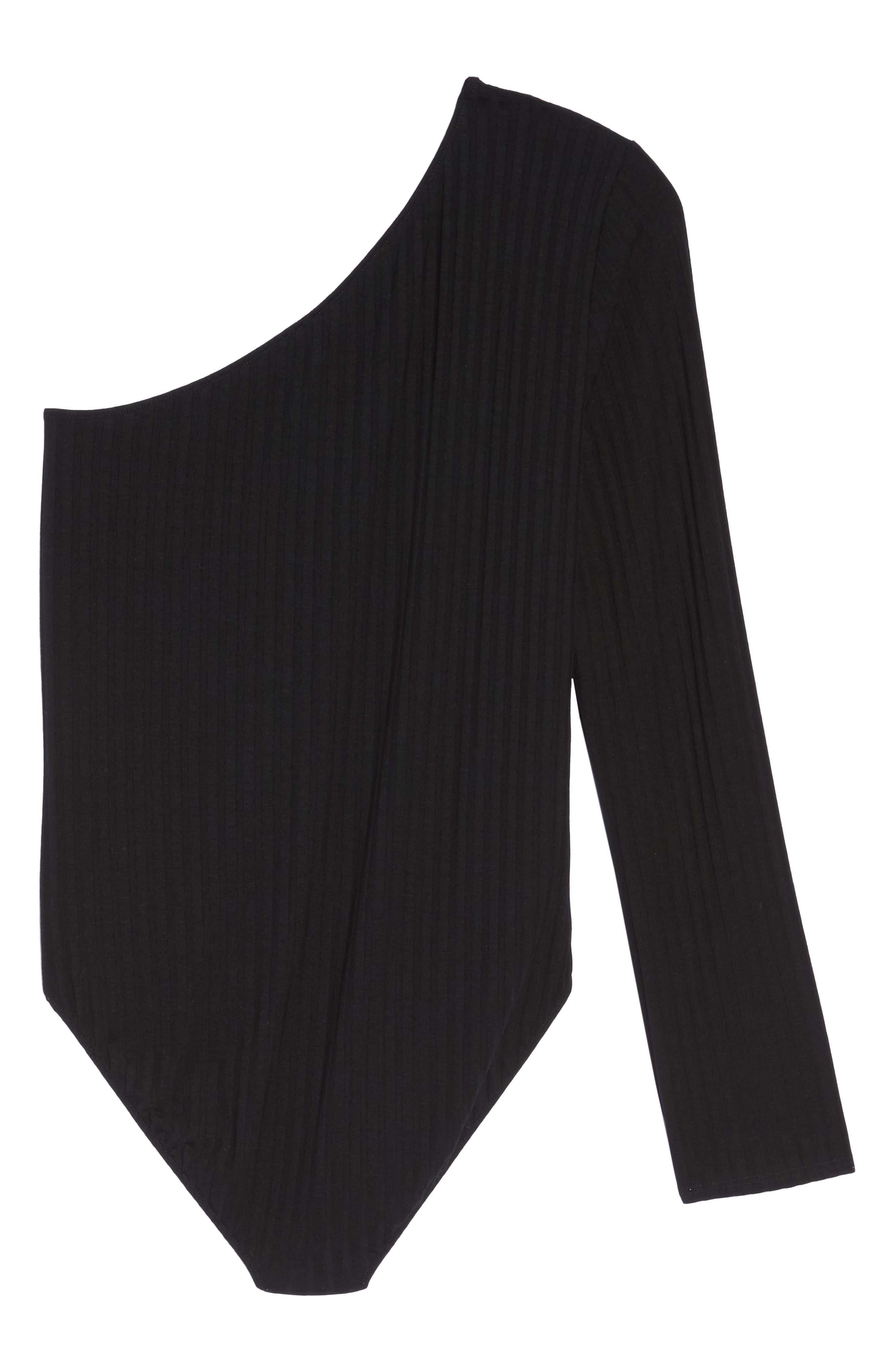 Ribbed One-Shoulder Bodysuit,                             Alternate thumbnail 6, color,                             001
